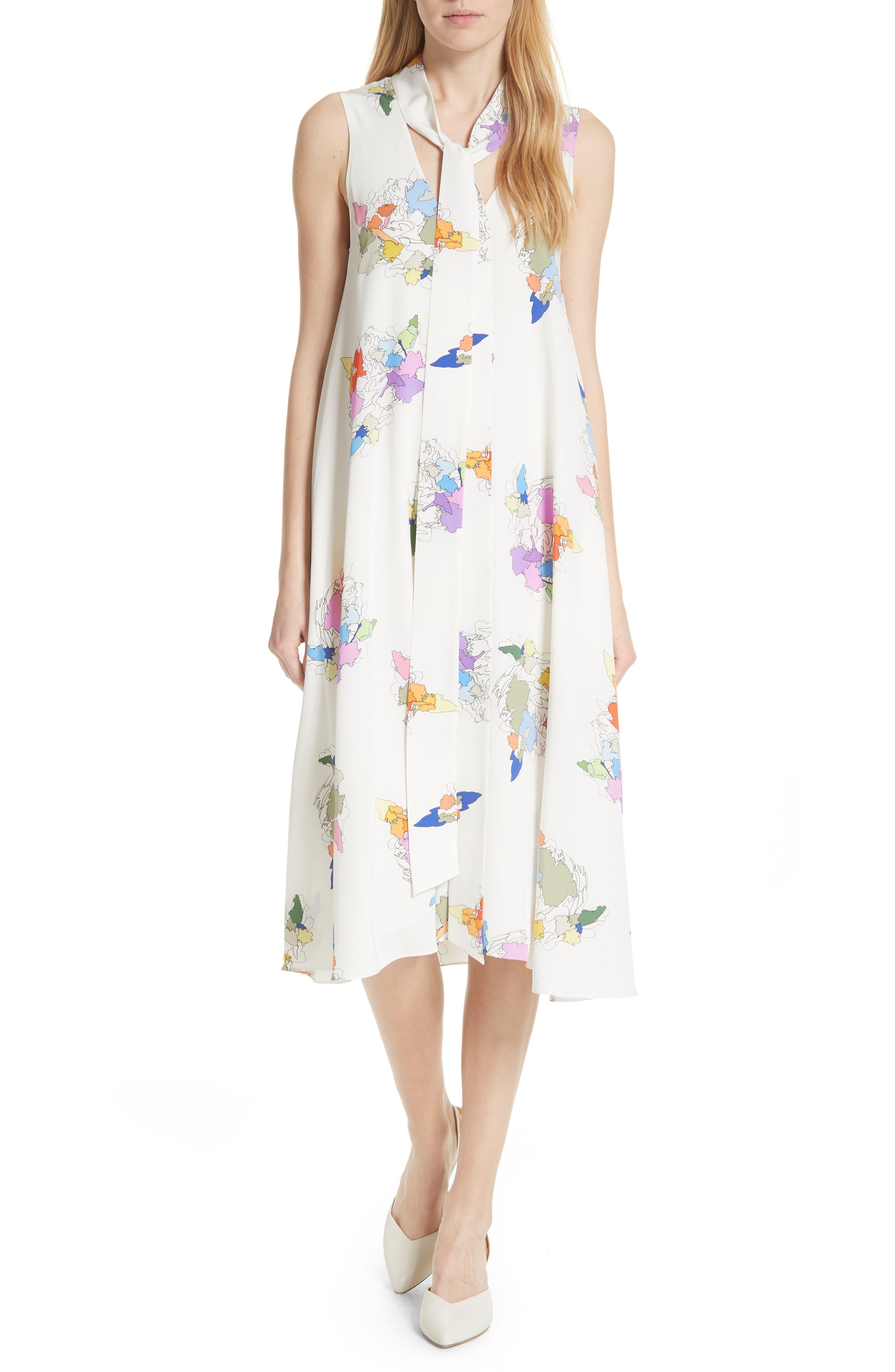 Camellia Print Silk A-Line Dress,                         Main,                         color, 907