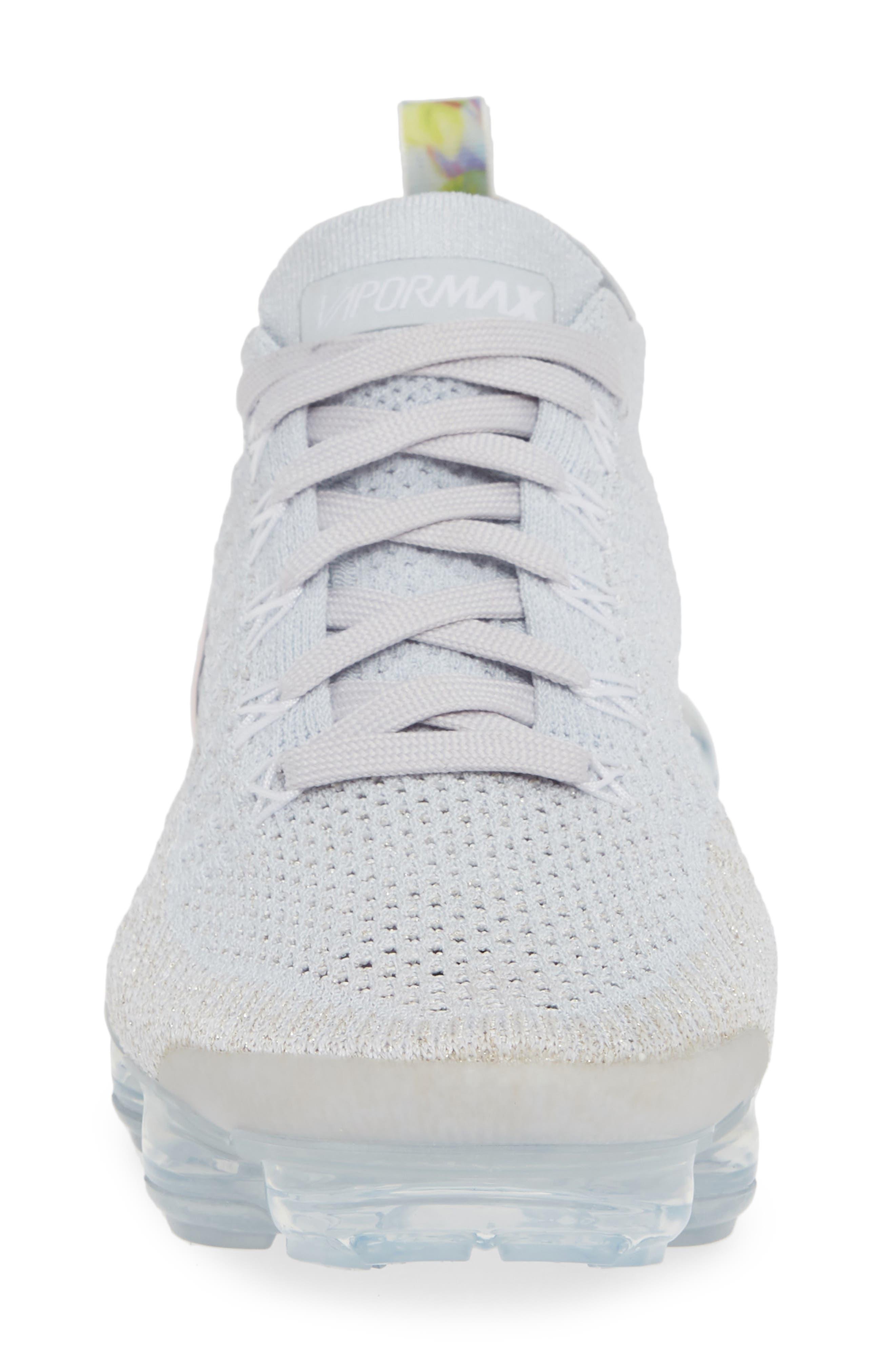 Air VaporMax Flyknit 2 Running Shoe,                             Alternate thumbnail 4, color,                             PURE PLATINUM/ PINK-WHITE