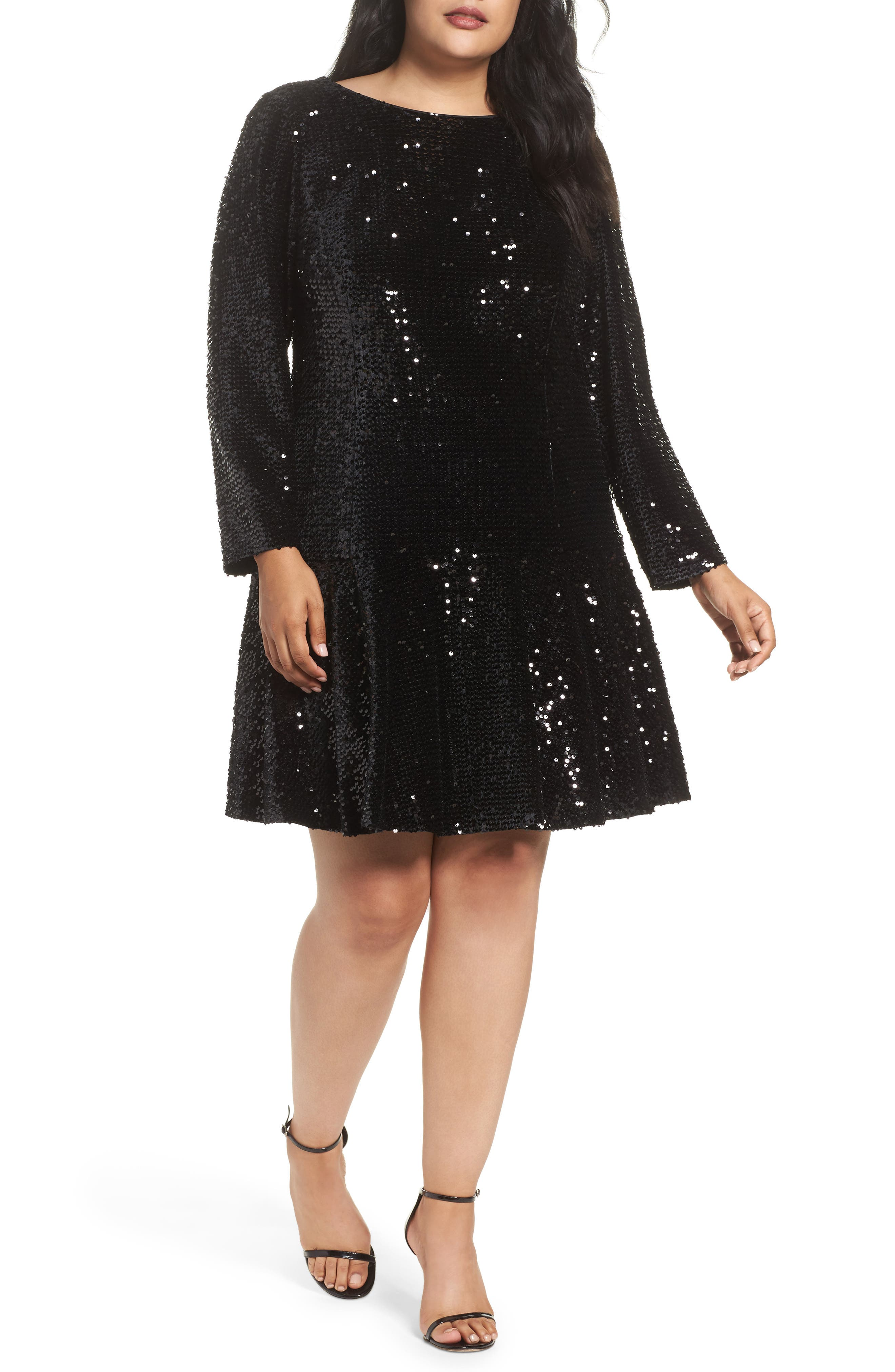 Sequin Drop Waist Dress,                             Main thumbnail 1, color,                             001