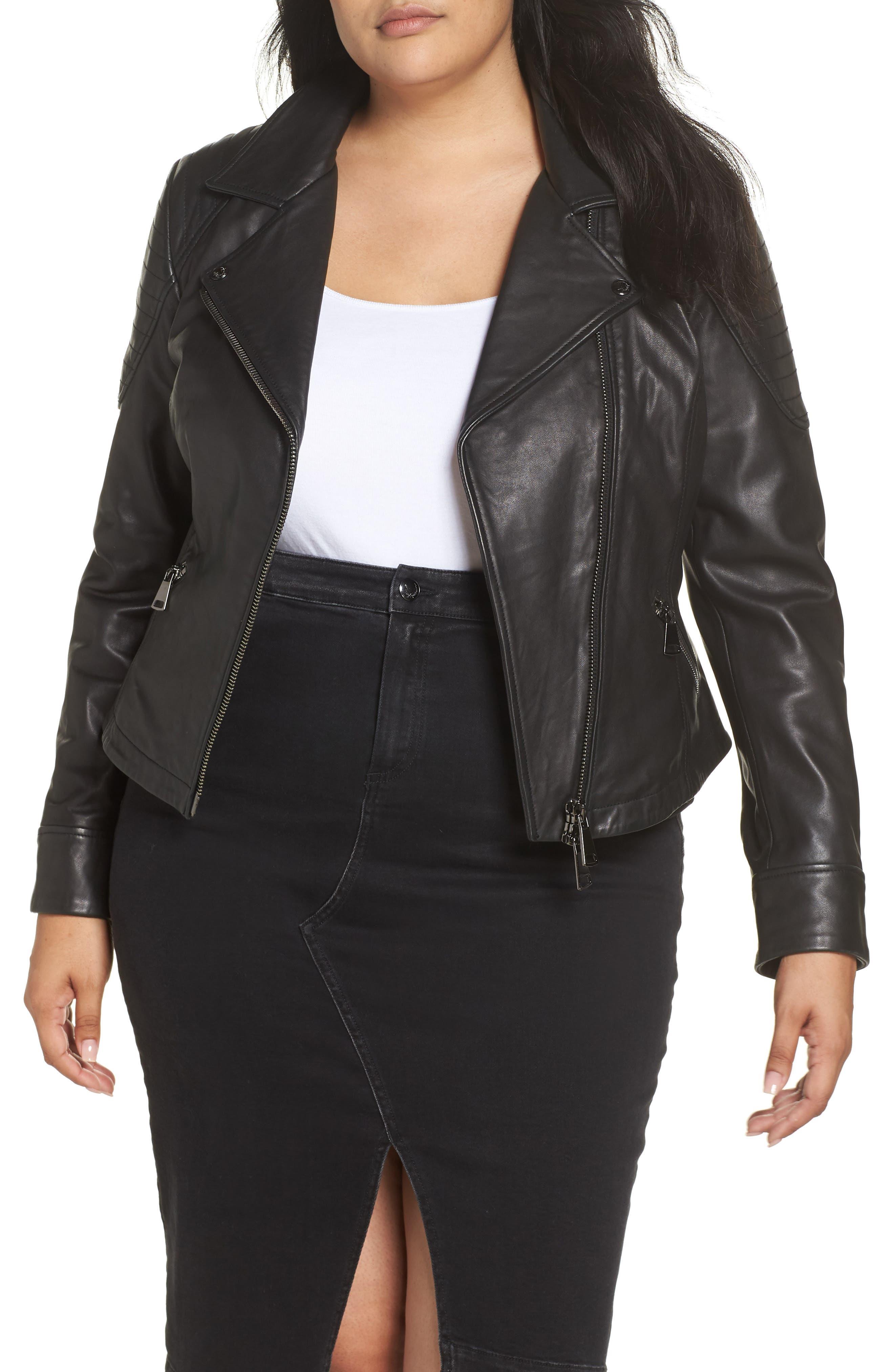 ASHLEY GRAHAM X MARINA RINALDI Ebe Leather Biker Jacket in Black 2