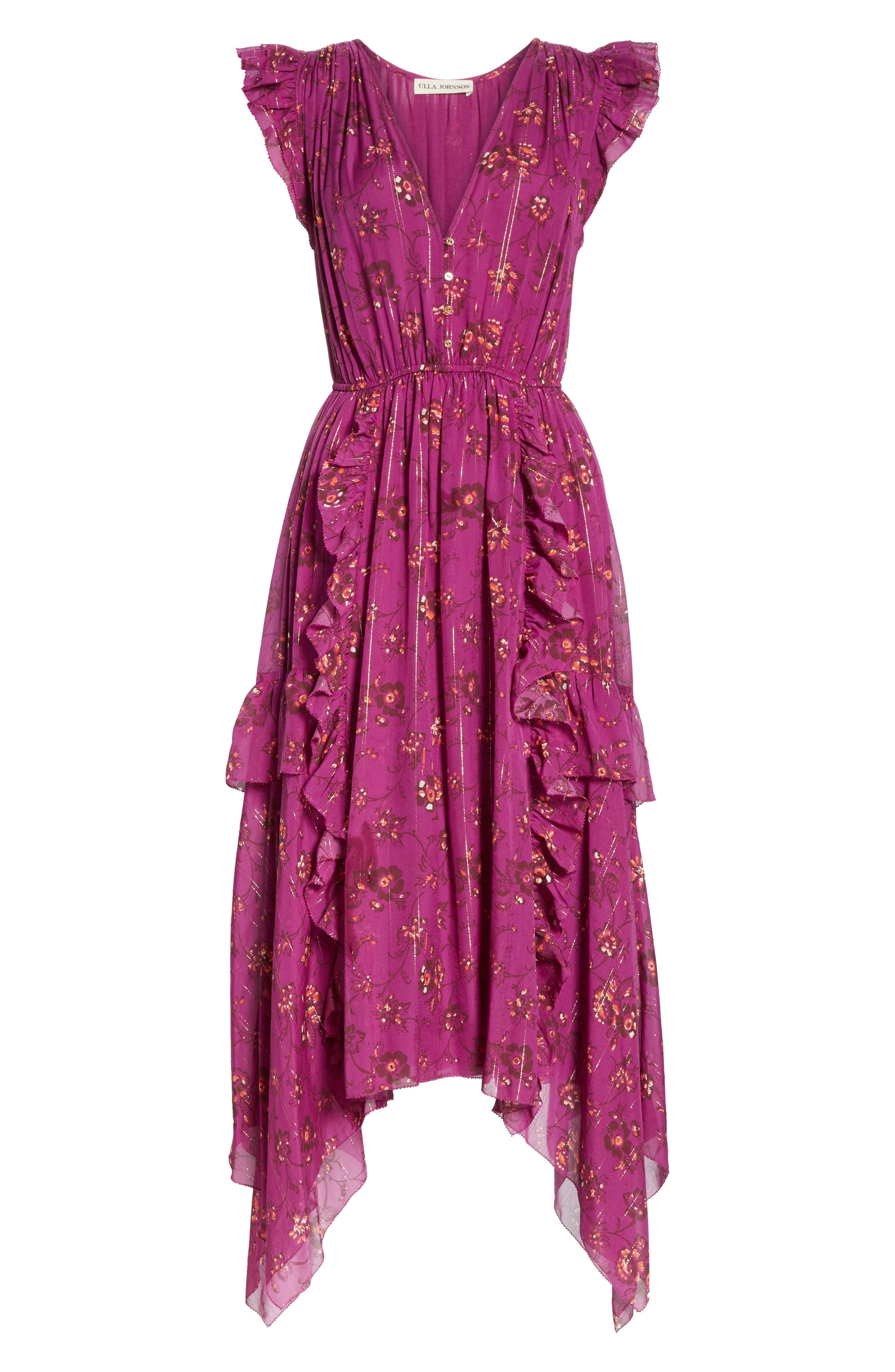 Ciel Floral Print Silk Blend Dress,                             Alternate thumbnail 6, color,                             MAGENTA