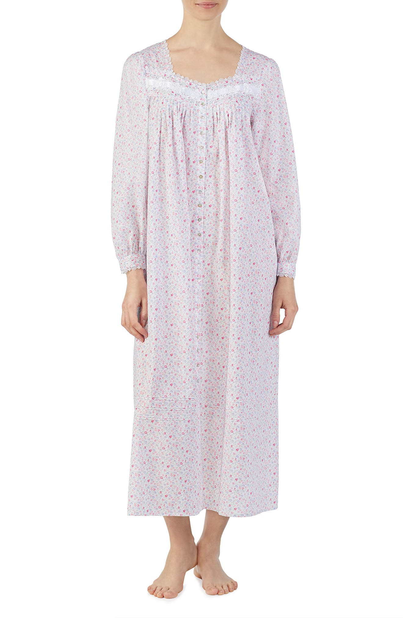 Eileen West Cotton Button Front Nightgown, White