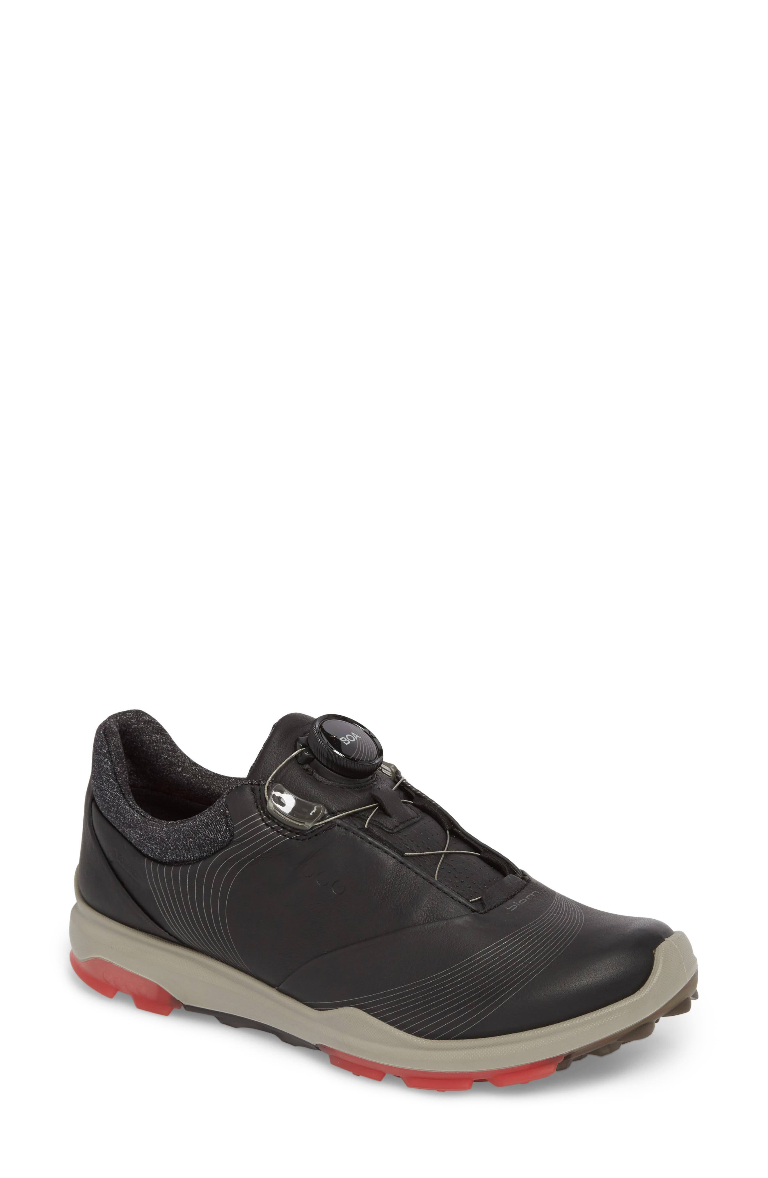 BIOM 2 Hybrid Gore-Tex<sup>®</sup> Golf Shoe,                             Main thumbnail 1, color,                             BLACK LEATHER