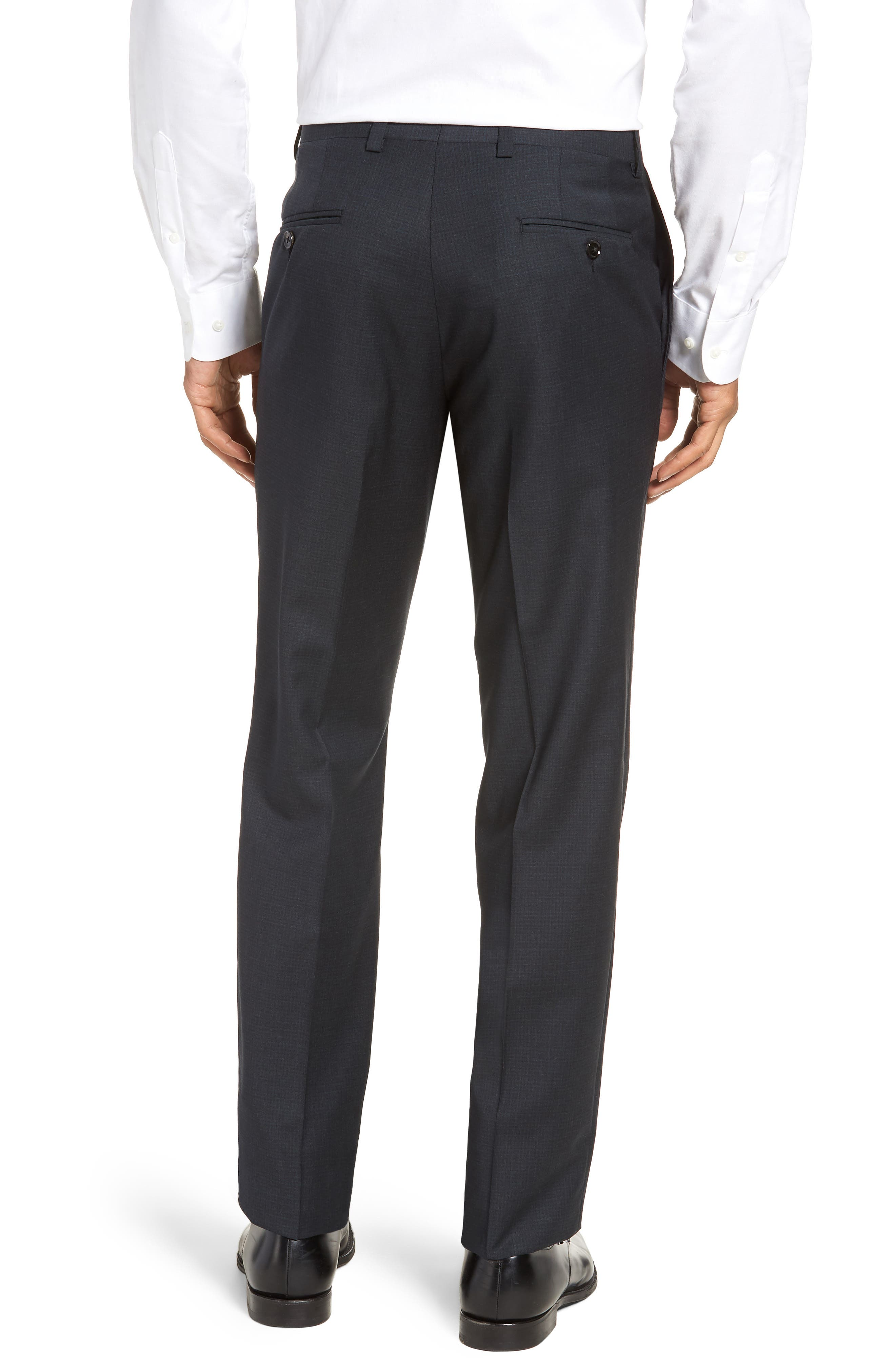 Jefferson Flat Front Check Wool Trousers,                             Alternate thumbnail 2, color,                             GREY