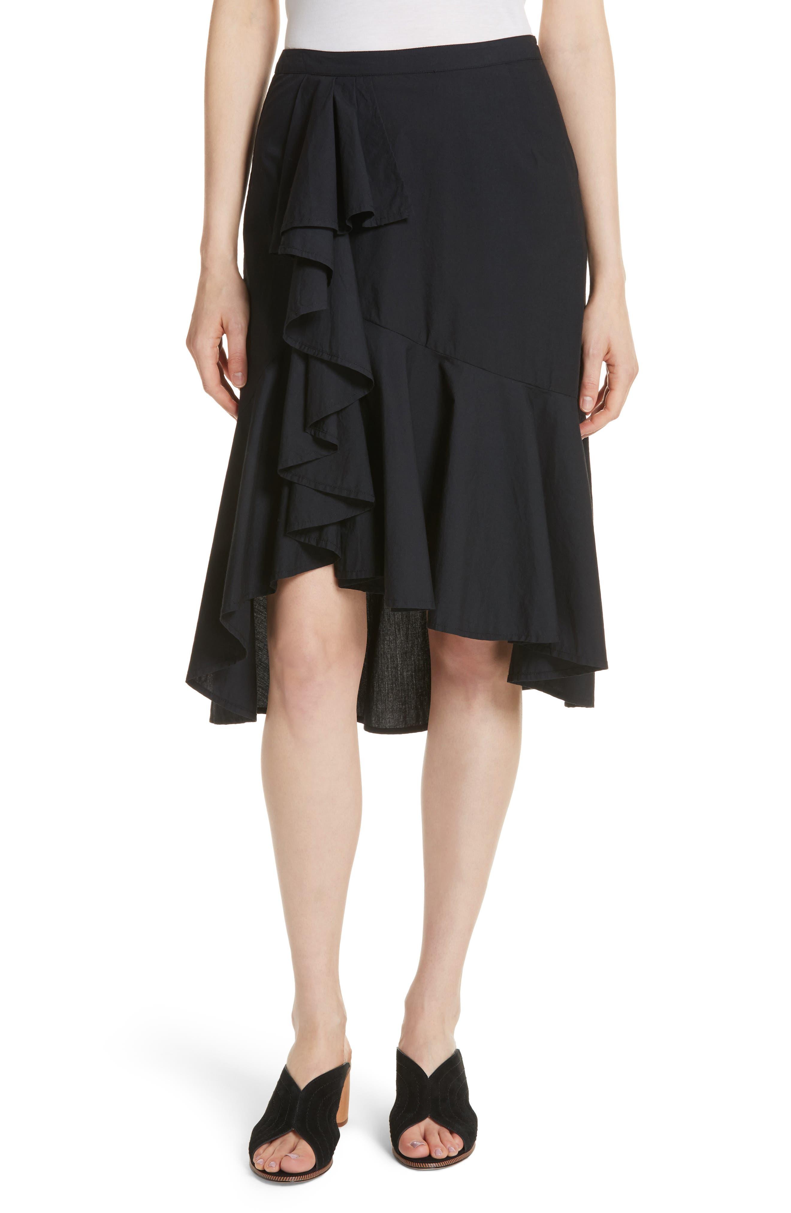 Chesmu Ruffled Cotton Skirt,                             Main thumbnail 1, color,                             001