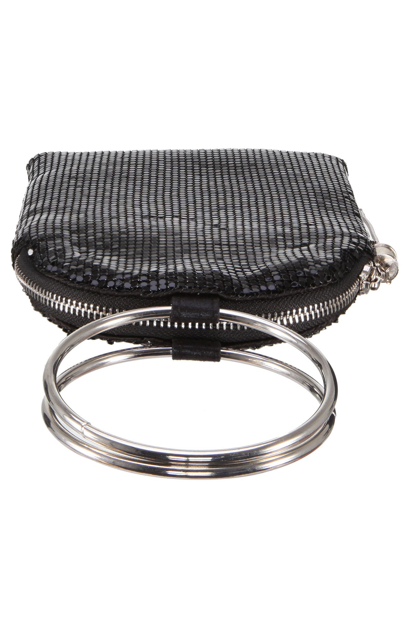 Metallic Mesh Handbag,                             Alternate thumbnail 5, color,                             BLACK