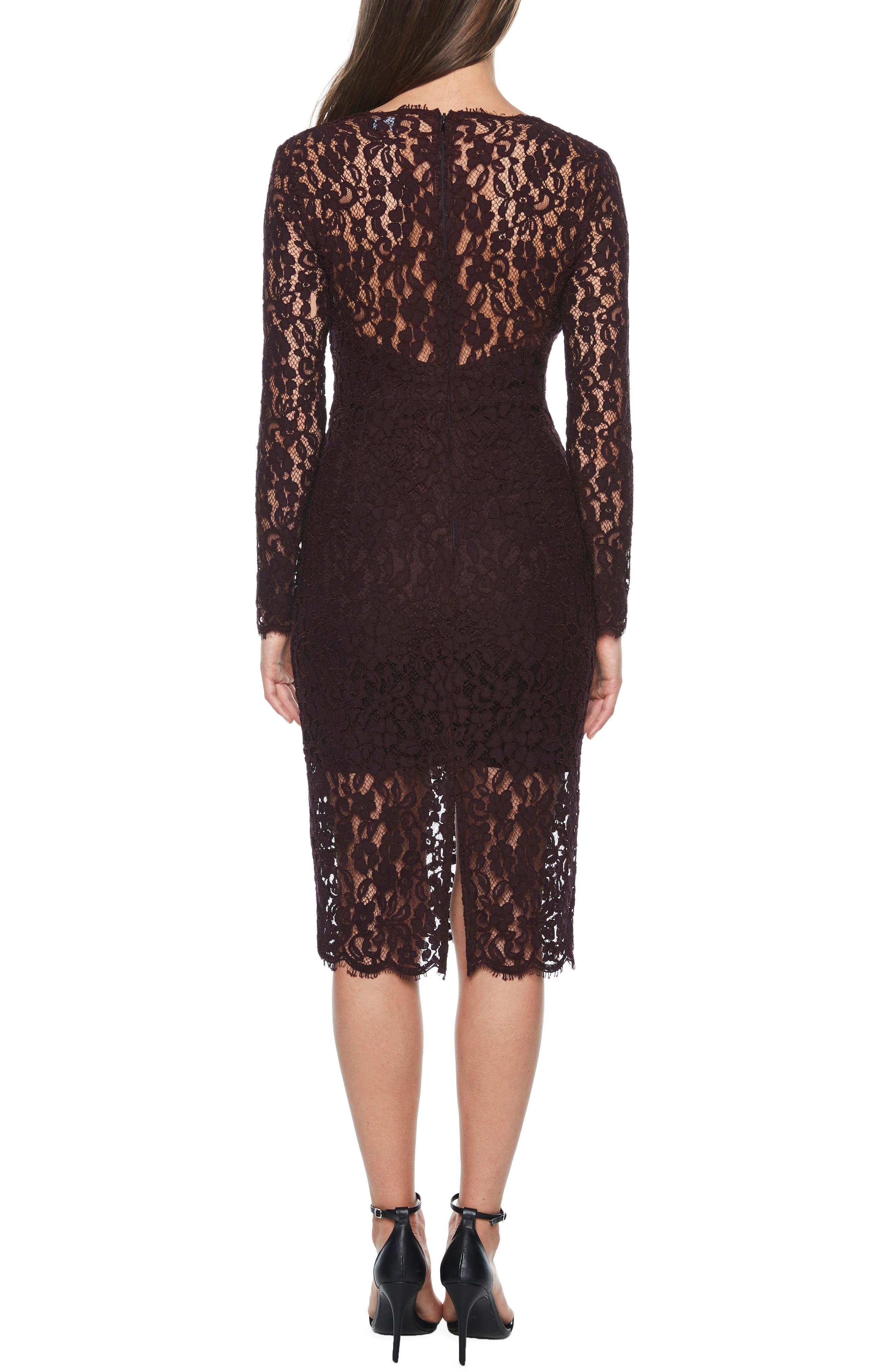 BARDOT,                             Midnights Lace Dress,                             Alternate thumbnail 2, color,                             BLACK