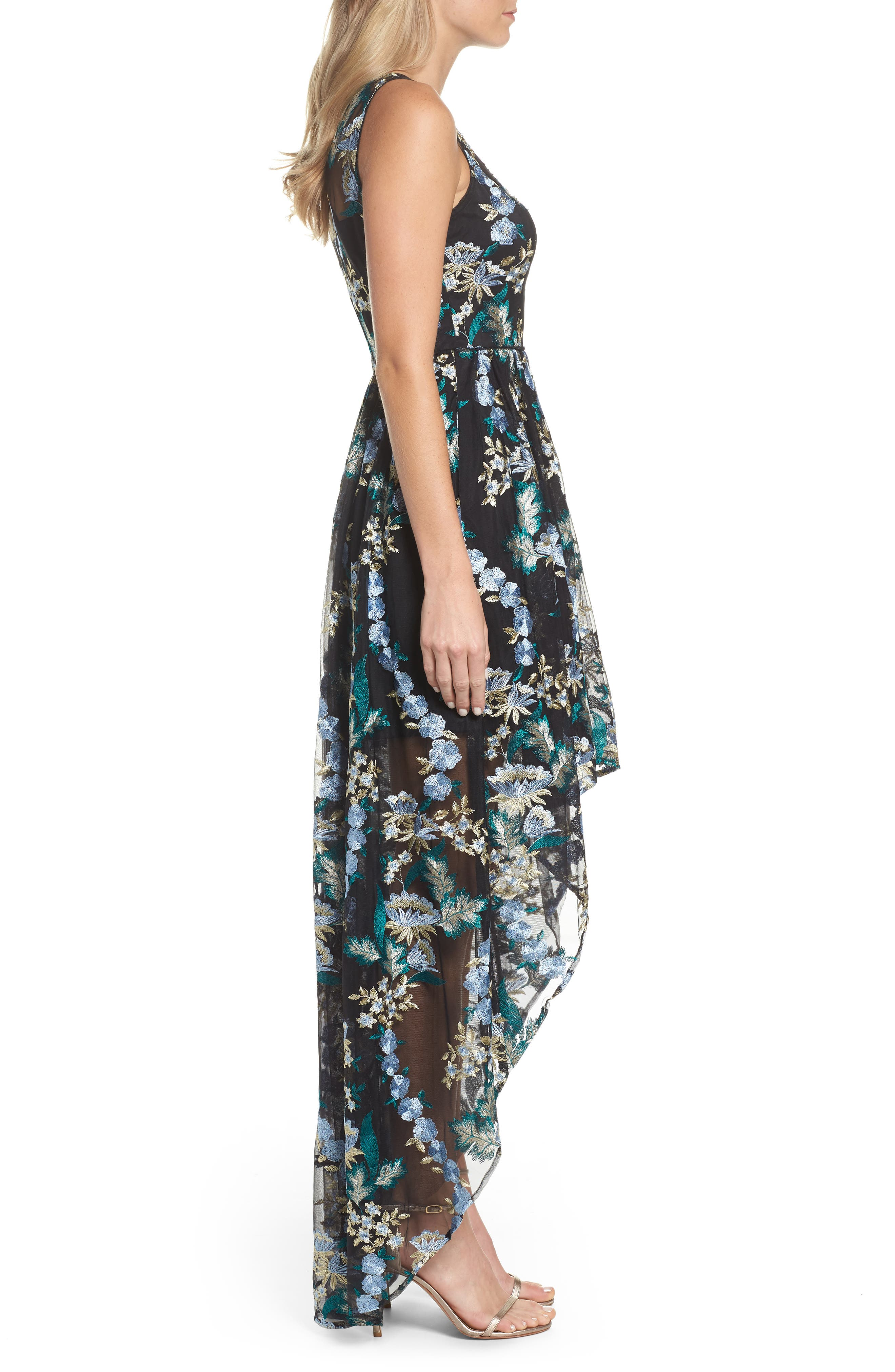 Embroidered Tulle High/Low Dress,                             Alternate thumbnail 3, color,                             010