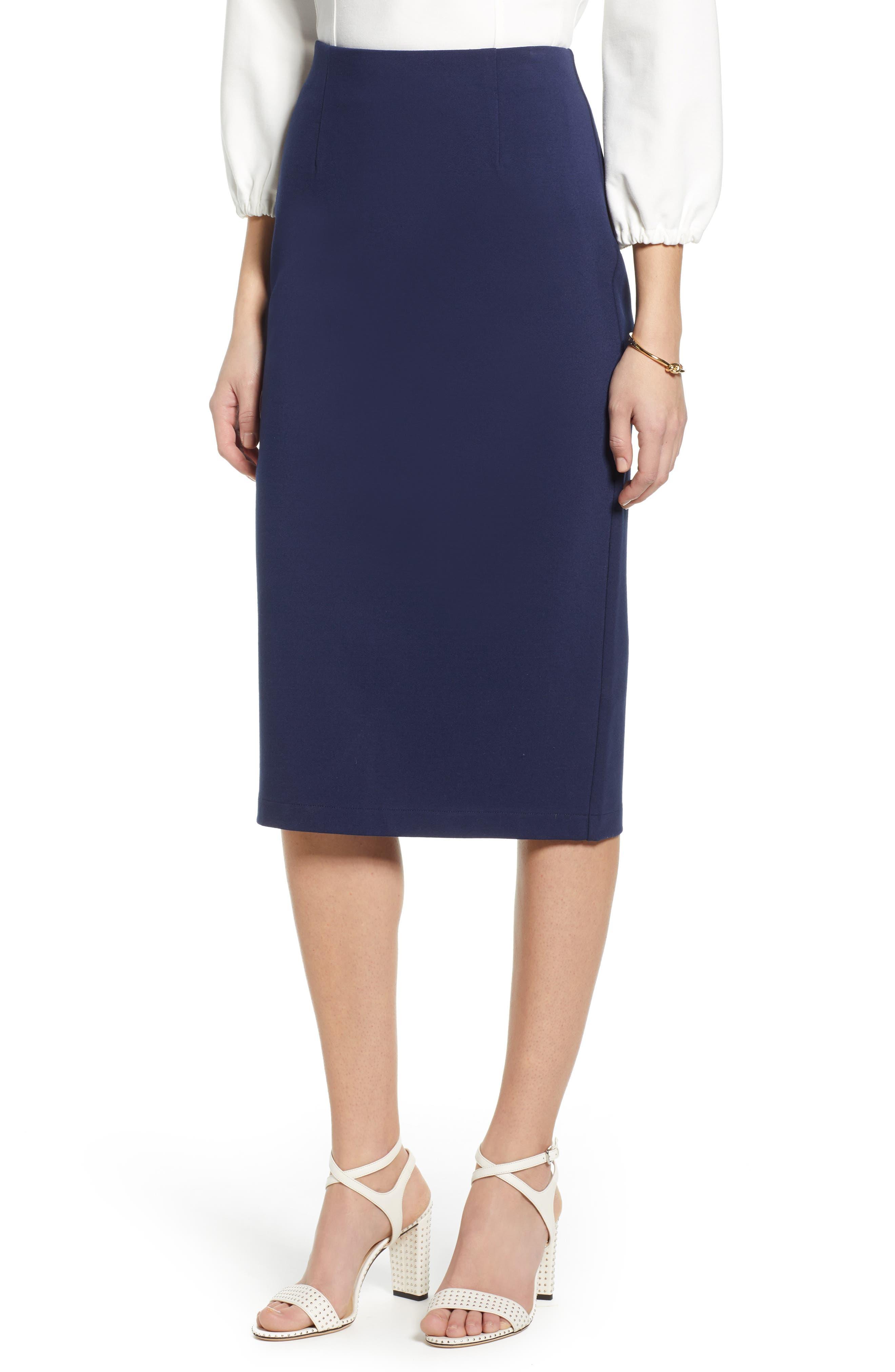 Petite Halogen Ponte Pencil Skirt, Blue
