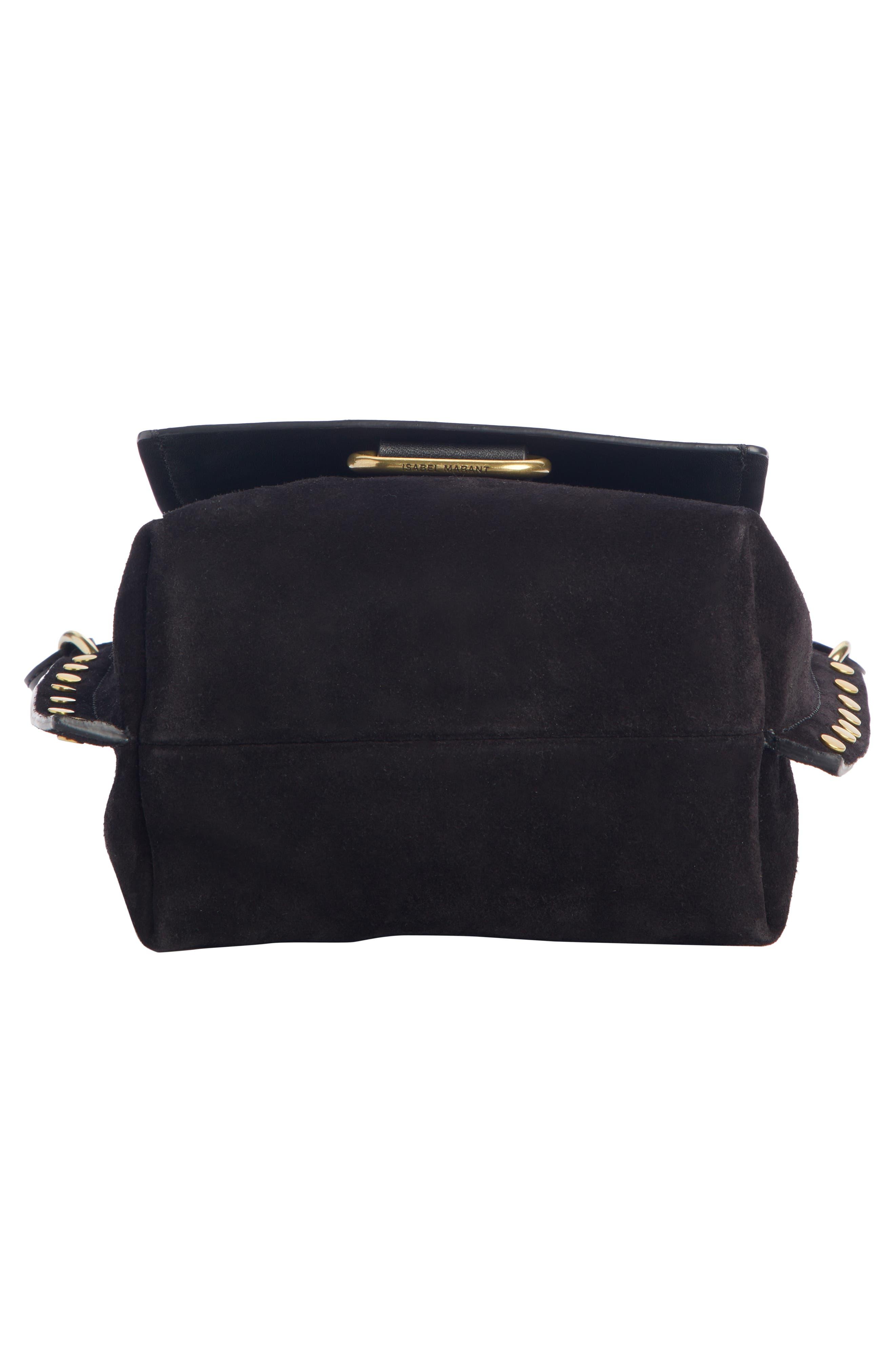 Kleny Leather Shoulder Bag,                             Alternate thumbnail 5, color,                             BLACK