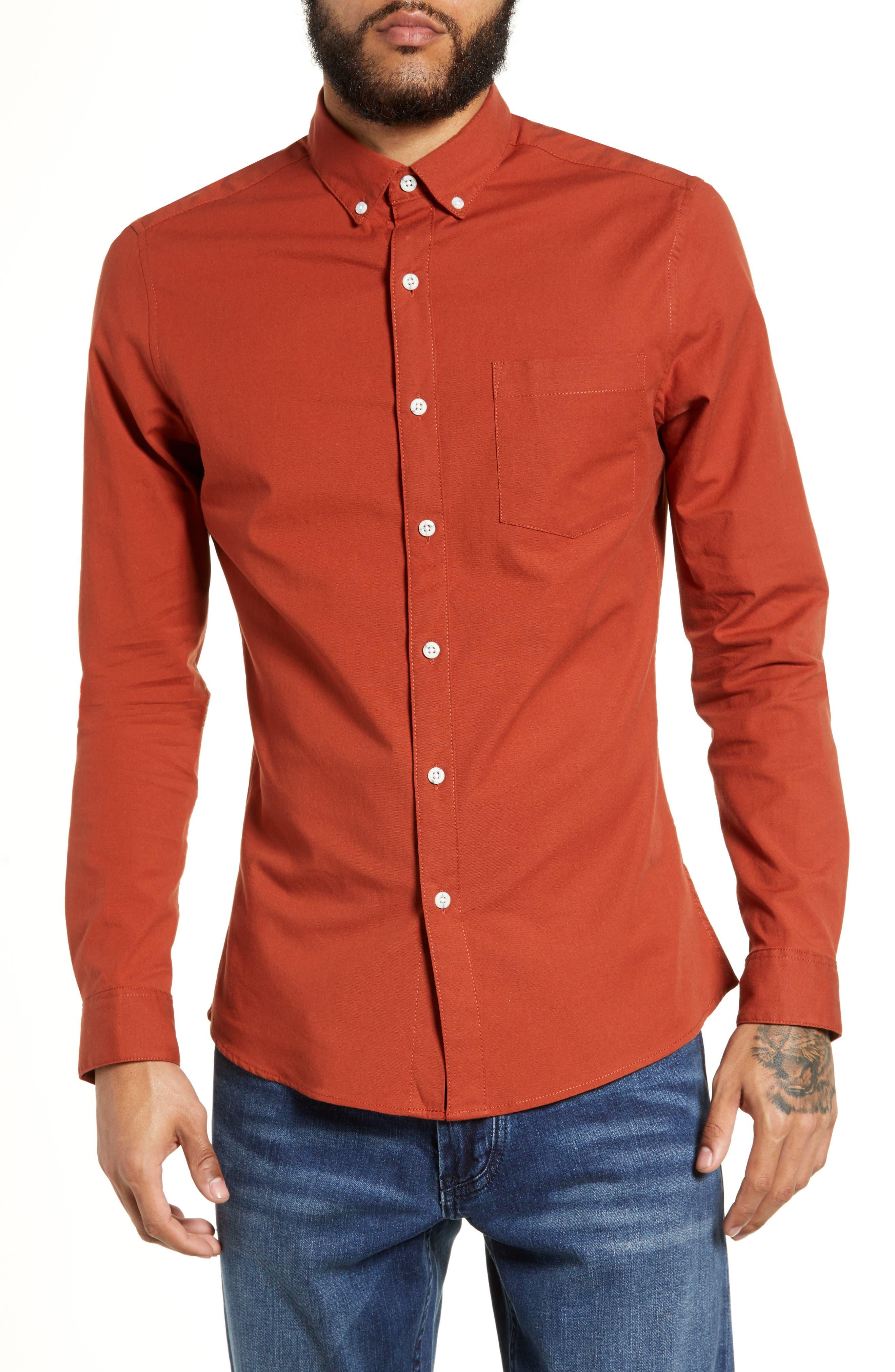 TOPMAN Classic Fit Oxford Shirt, Main, color, BROWN