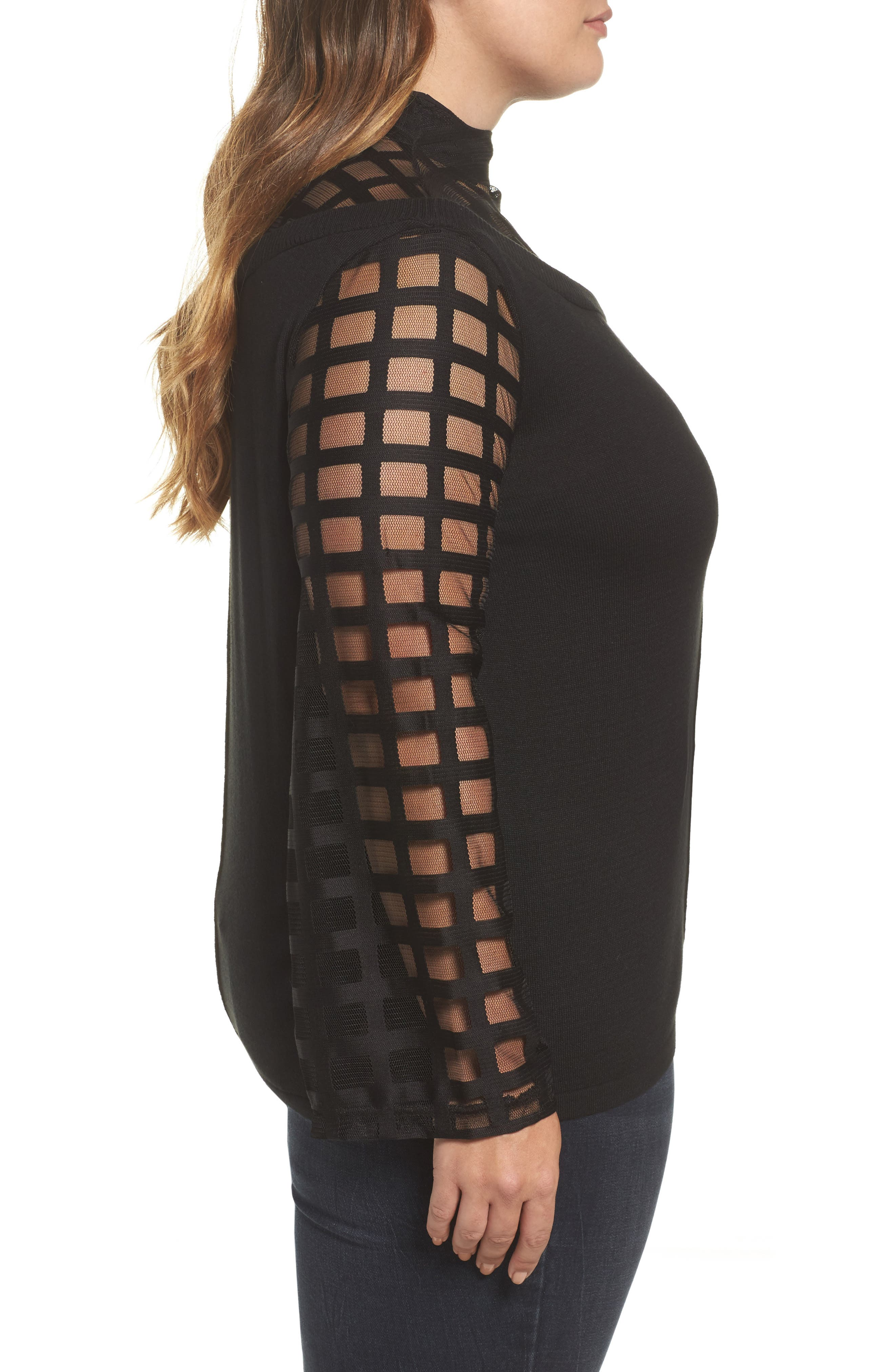 Mesh Bell Sleeve Sweater,                             Alternate thumbnail 3, color,                             001