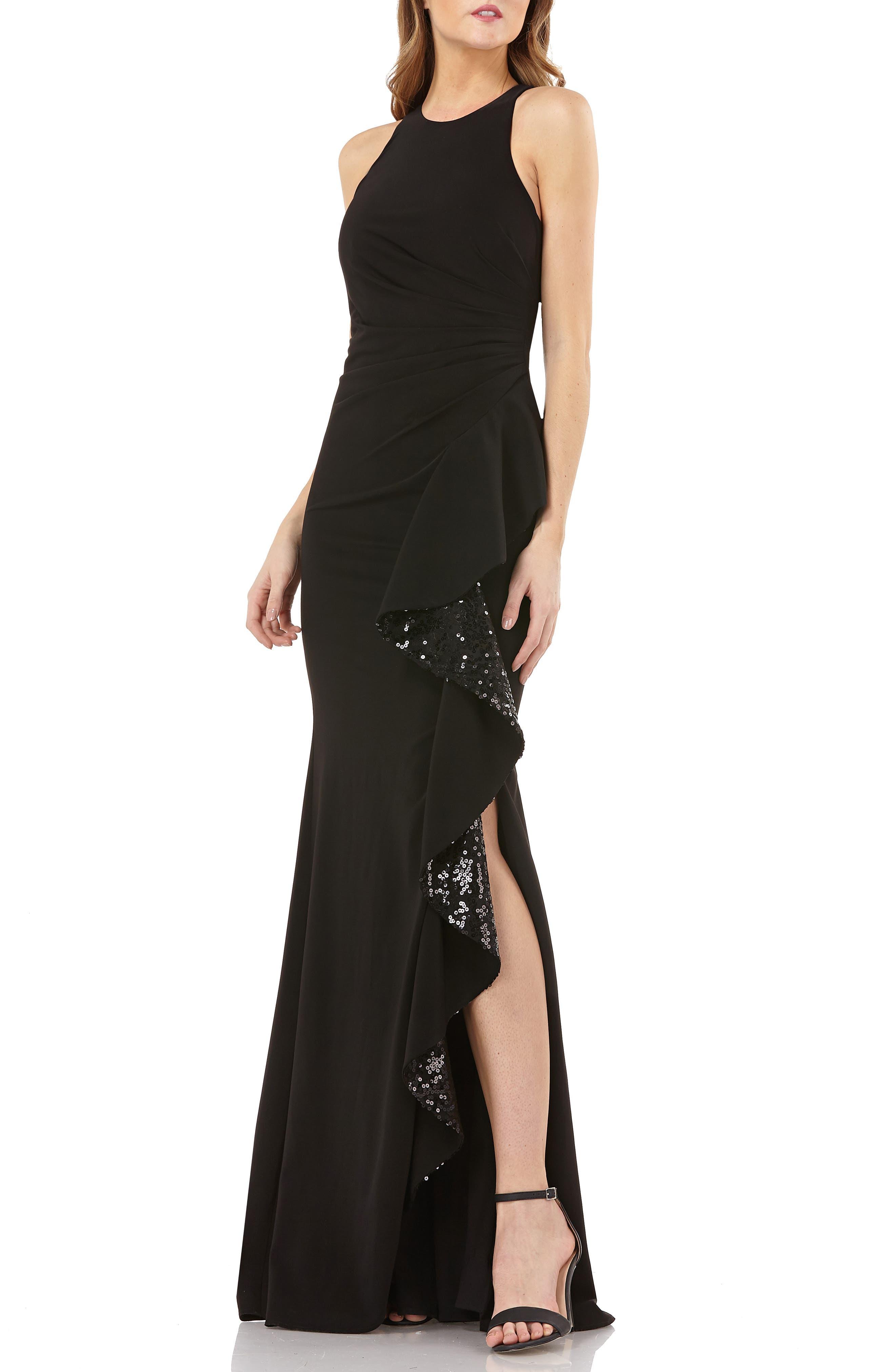 CARMEN MARC VALVO Sleeveless Sequin Cascade Ruffle Gown in Black
