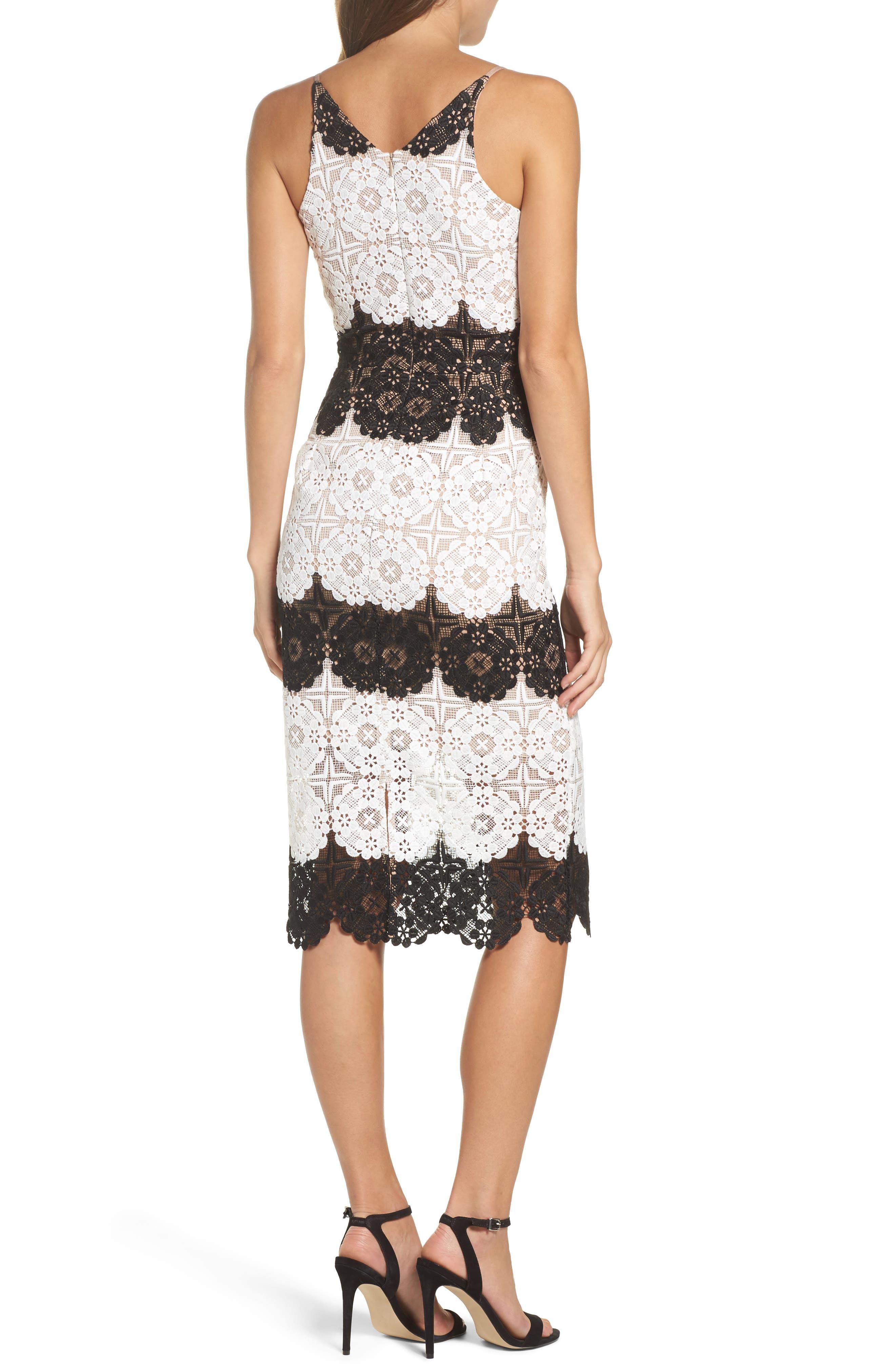 Vera Crochet Stripe Sheath Dress,                             Alternate thumbnail 2, color,                             011