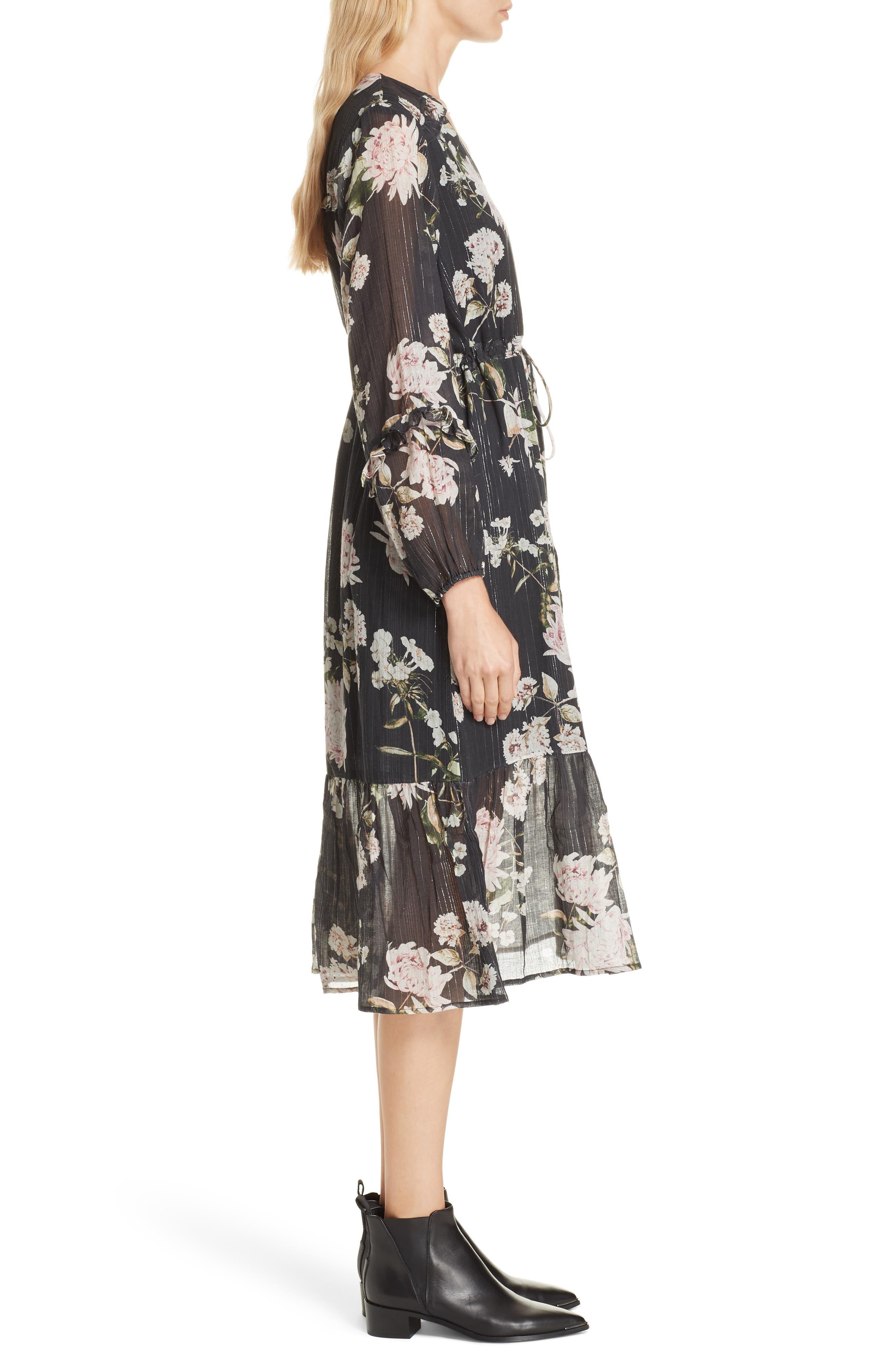 Ruffled Floral Midi Dress,                             Alternate thumbnail 3, color,                             BLACK CHRYSANTHEMUM