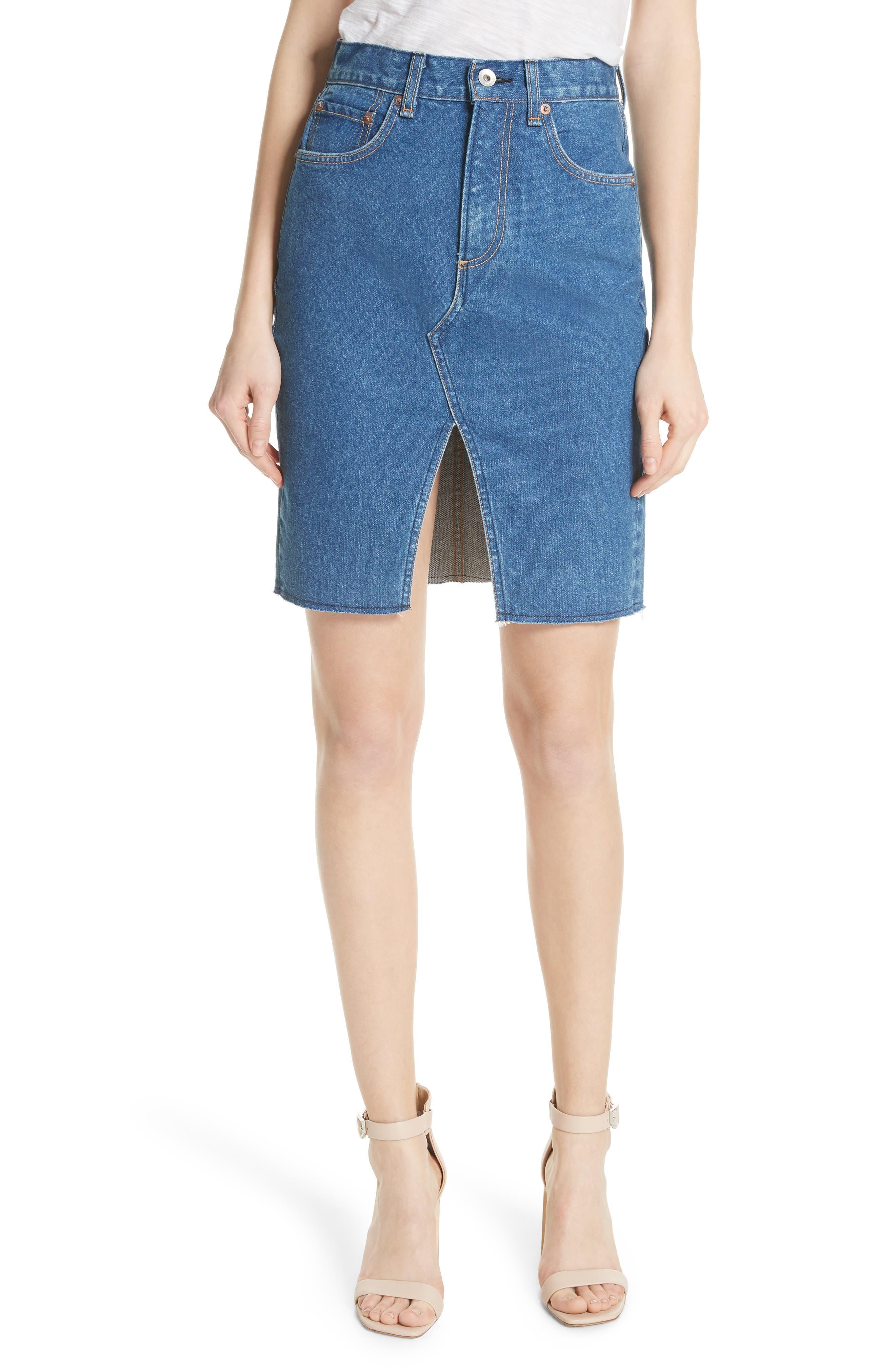 Suji Denim Skirt,                             Main thumbnail 1, color,                             401