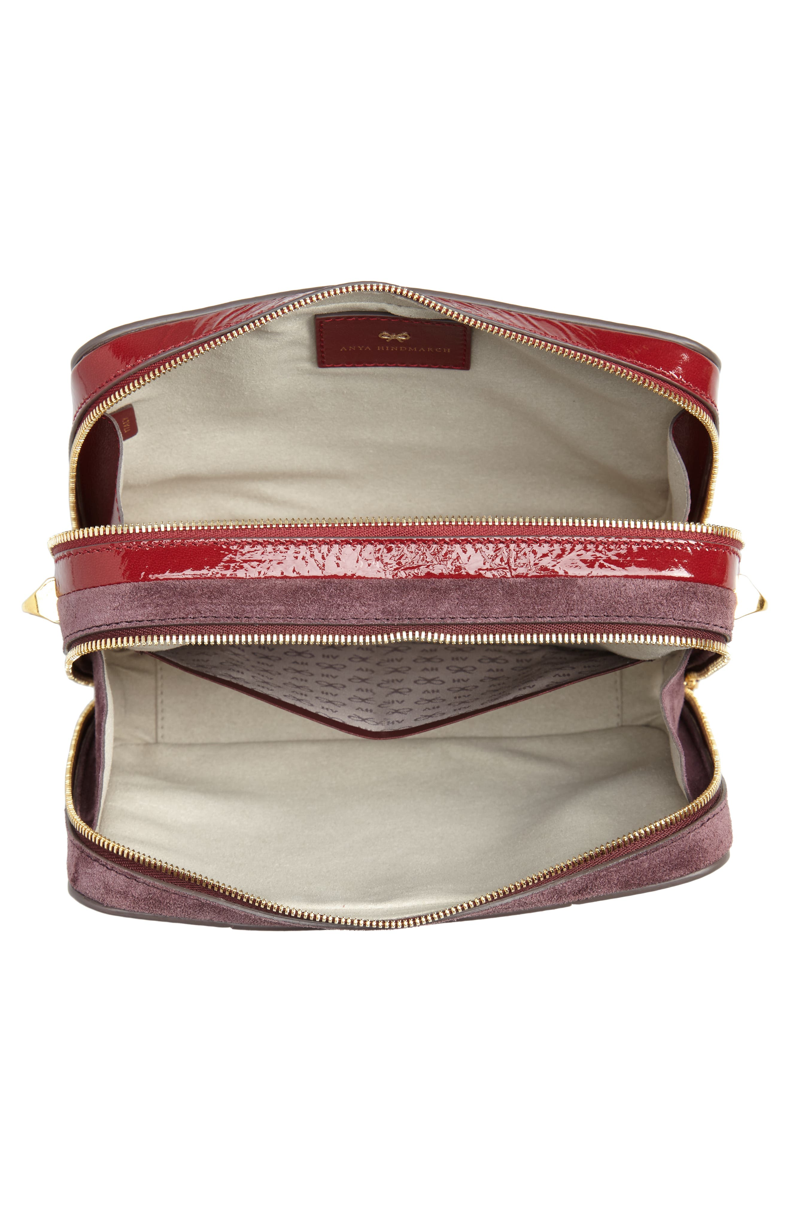 The Double Stack Leather Crossbody Bag,                             Alternate thumbnail 4, color,                             BRIGHT RED/ OXBLOOD