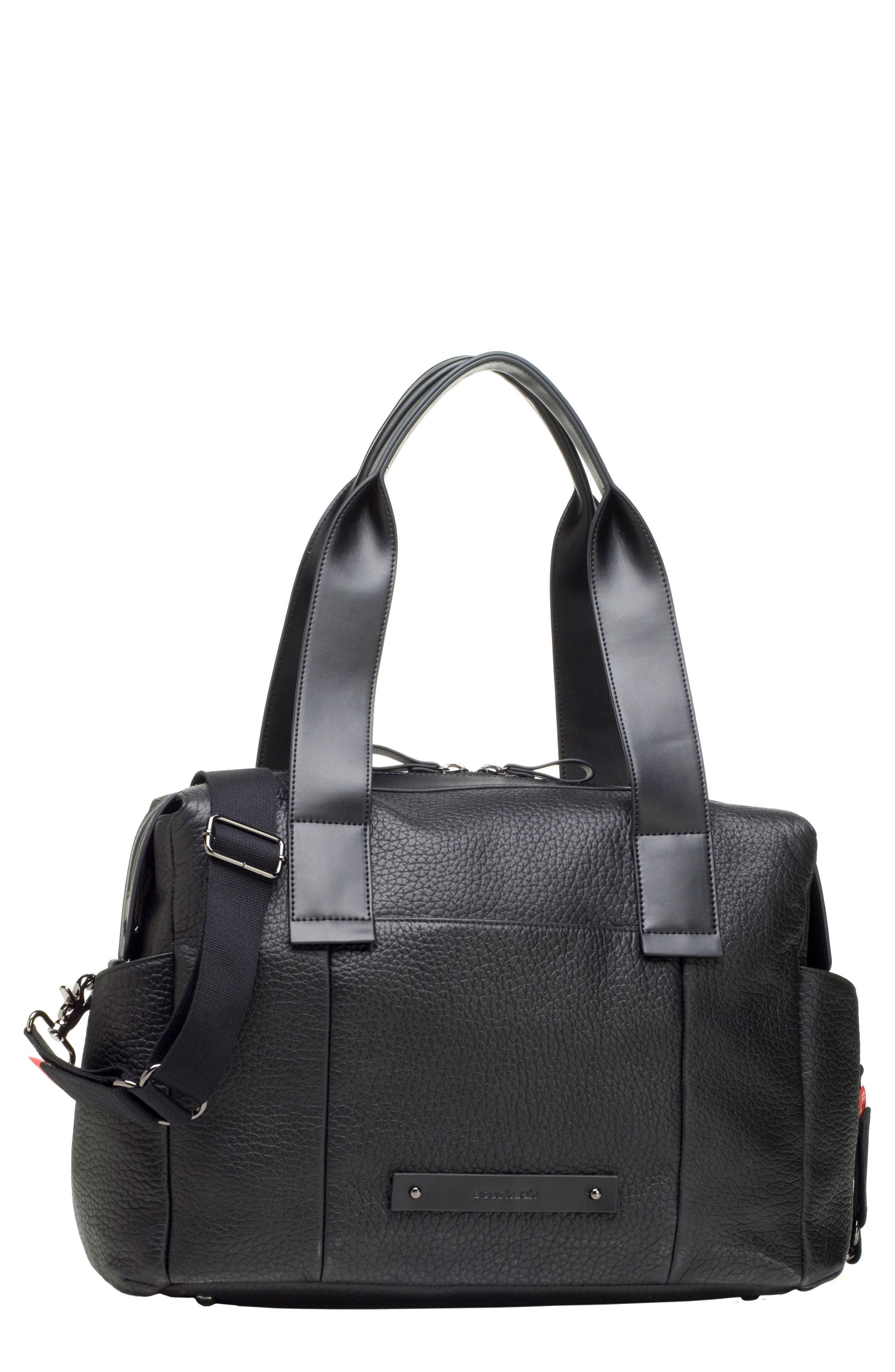 Kym Calfskin Leather Diaper Tote Bag,                             Main thumbnail 1, color,                             BLACK