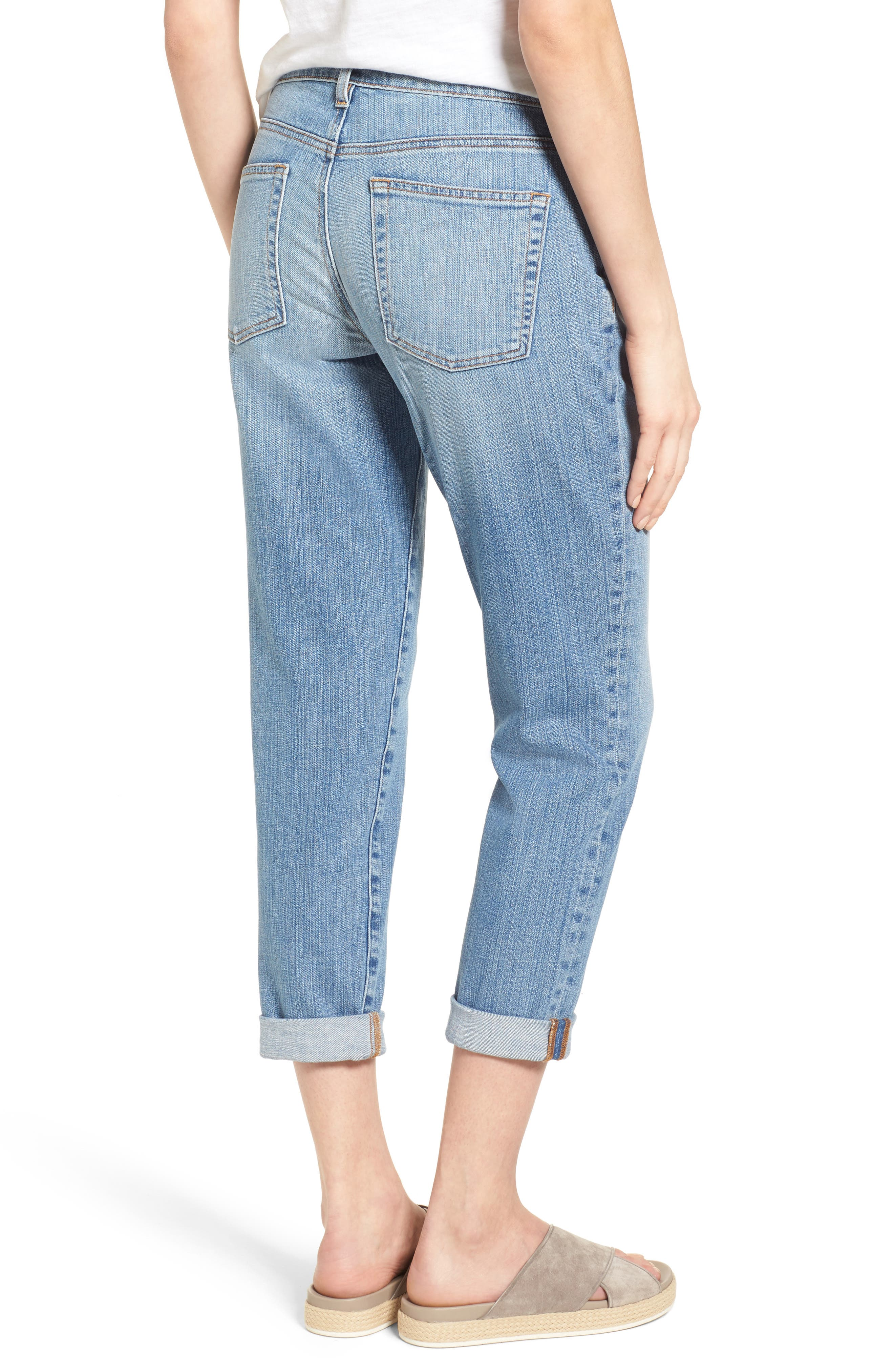 Organic Cotton Boyfriend Jeans,                             Alternate thumbnail 2, color,                             SKY BLUE