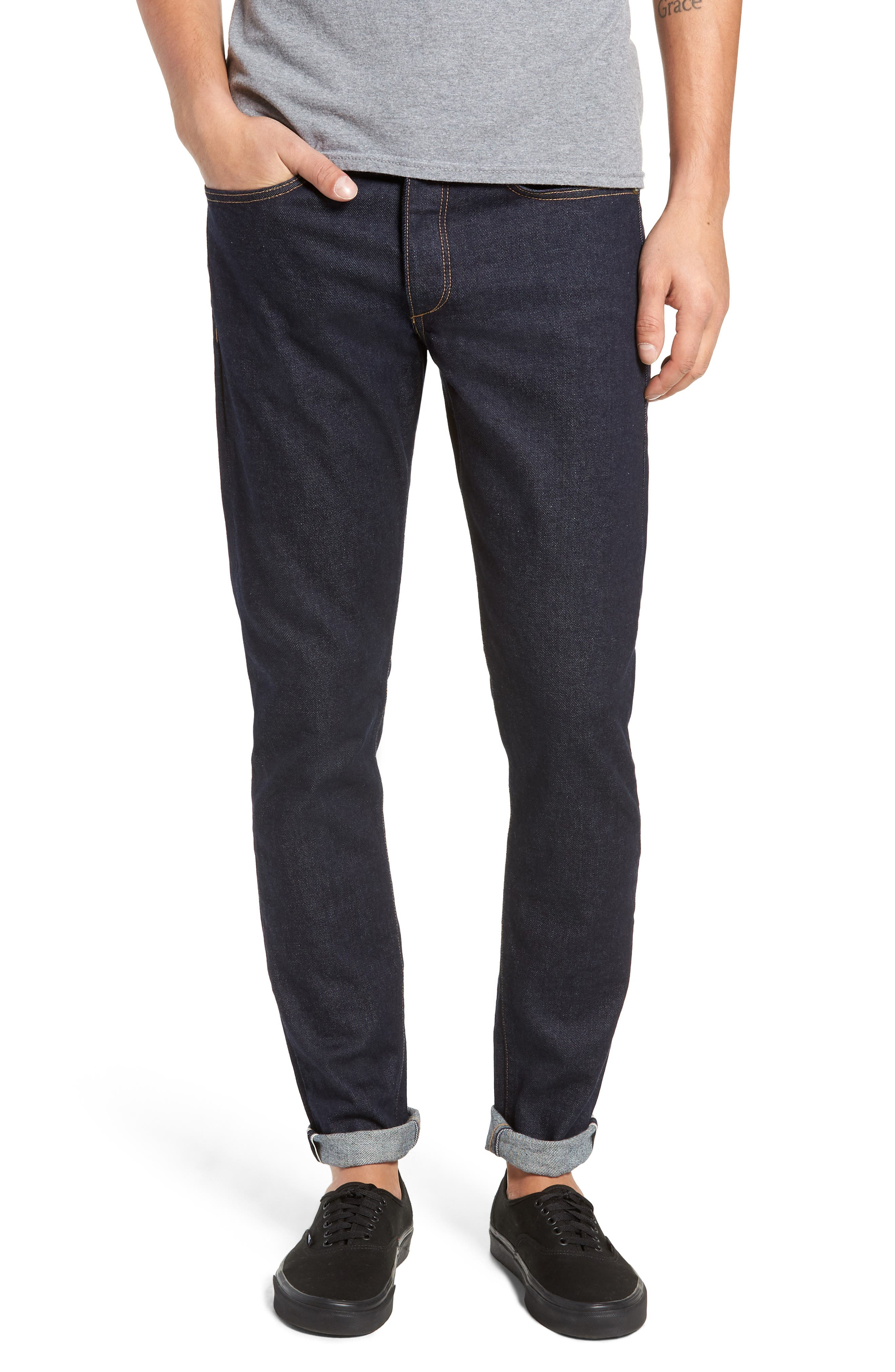 Fit 1 Skinny Fit Jeans,                             Main thumbnail 1, color,                             INDIGO RINSE SELVEDGE