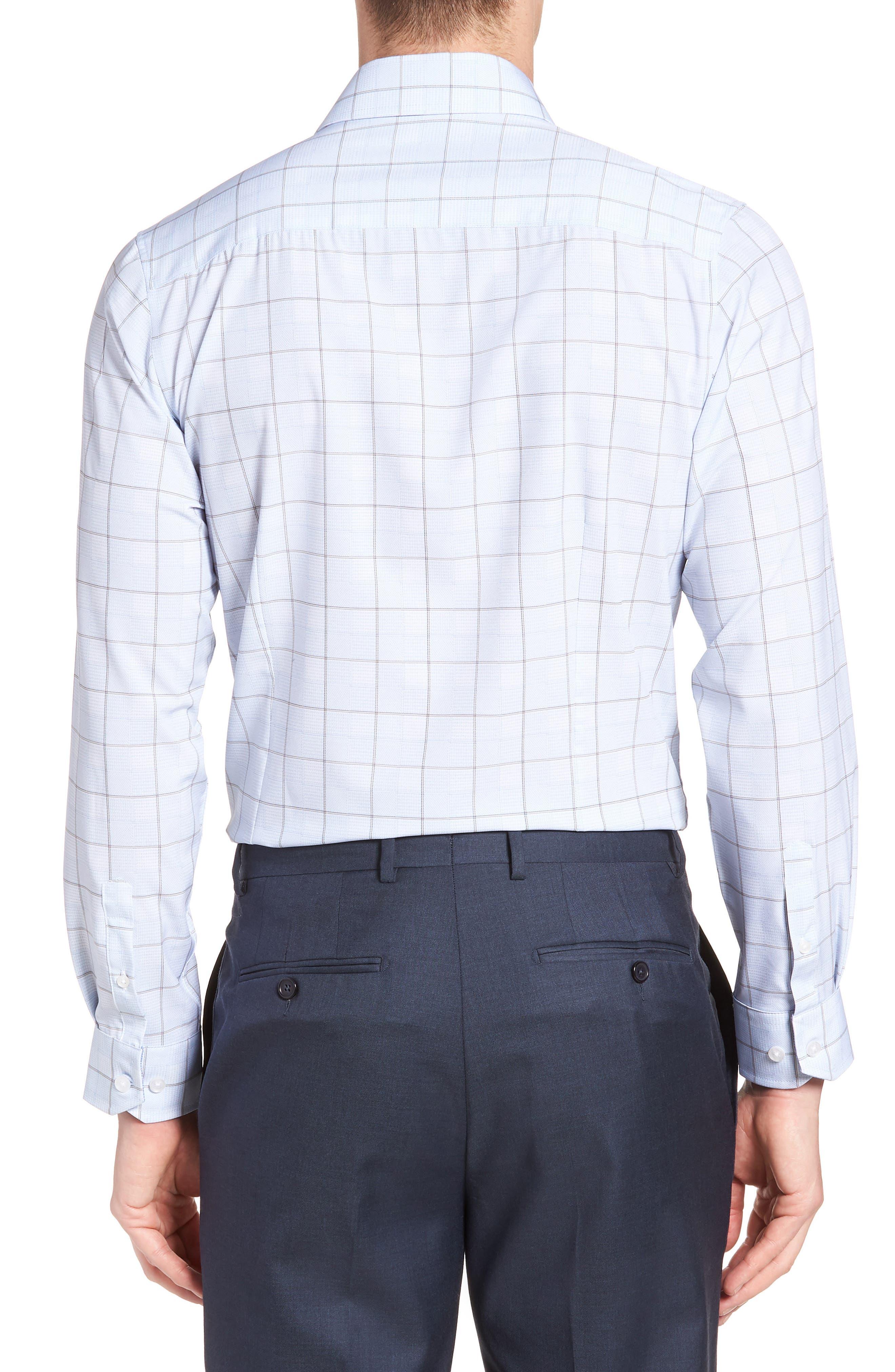 Trim Fit Plaid 4-Way Stretch Dress Shirt,                             Alternate thumbnail 3, color,                             BLUE