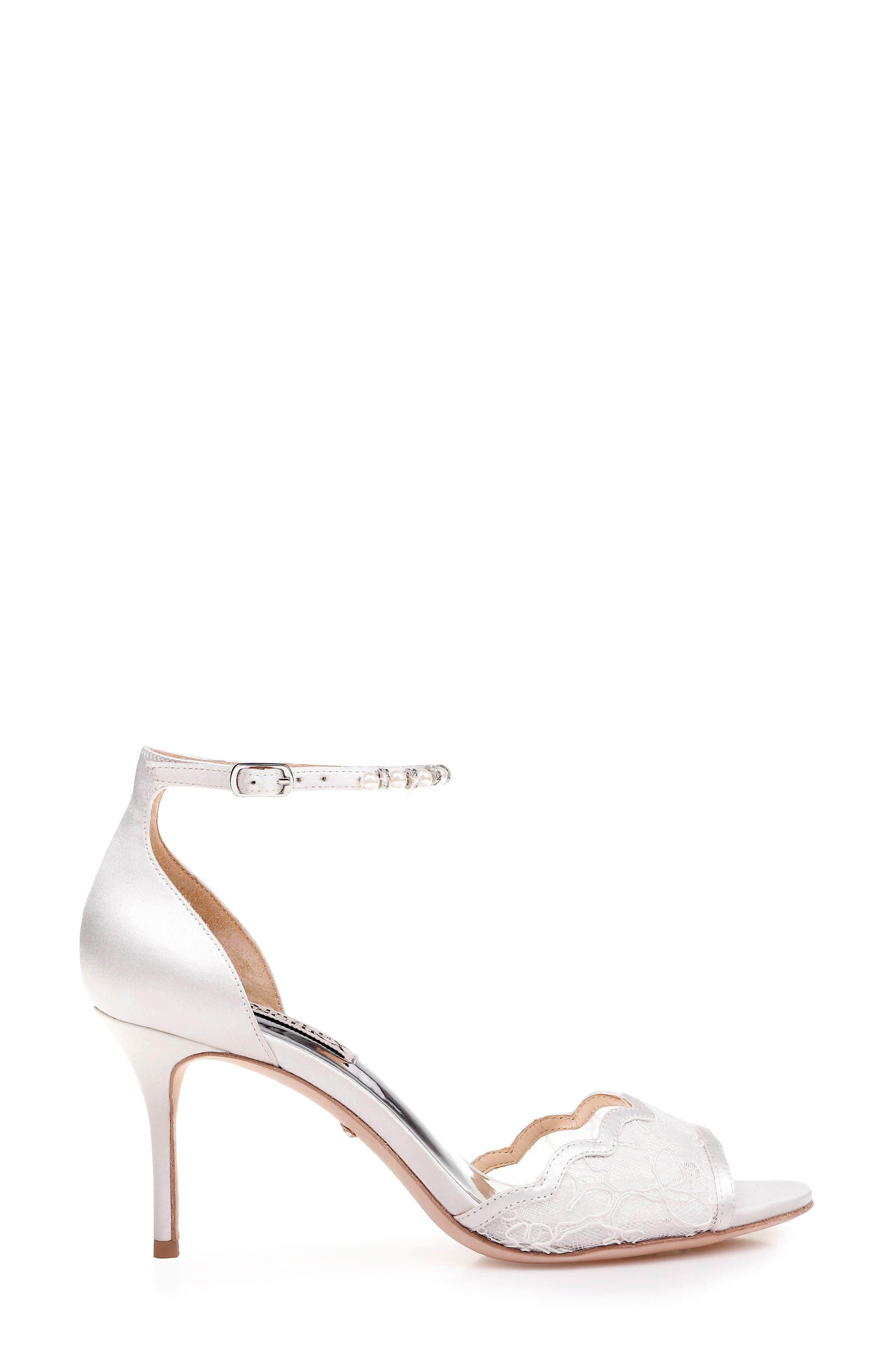 BADGLEY MISCHKA COLLECTION,                             Badgley Mischka Lenora Ankle Strap Sandal,                             Alternate thumbnail 3, color,                             SOFT WHITE FABRIC/ SATIN