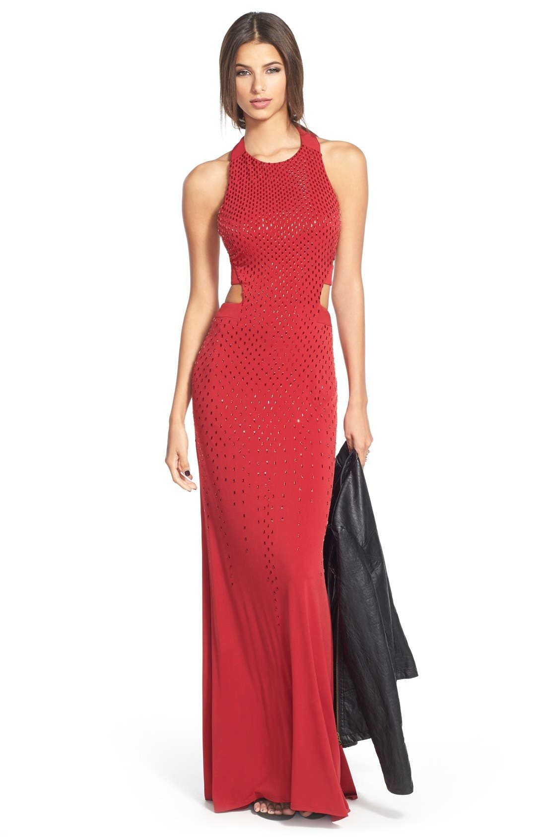 Cutout Embellished Jersey Gown,                             Alternate thumbnail 7, color,                             CRIMSON