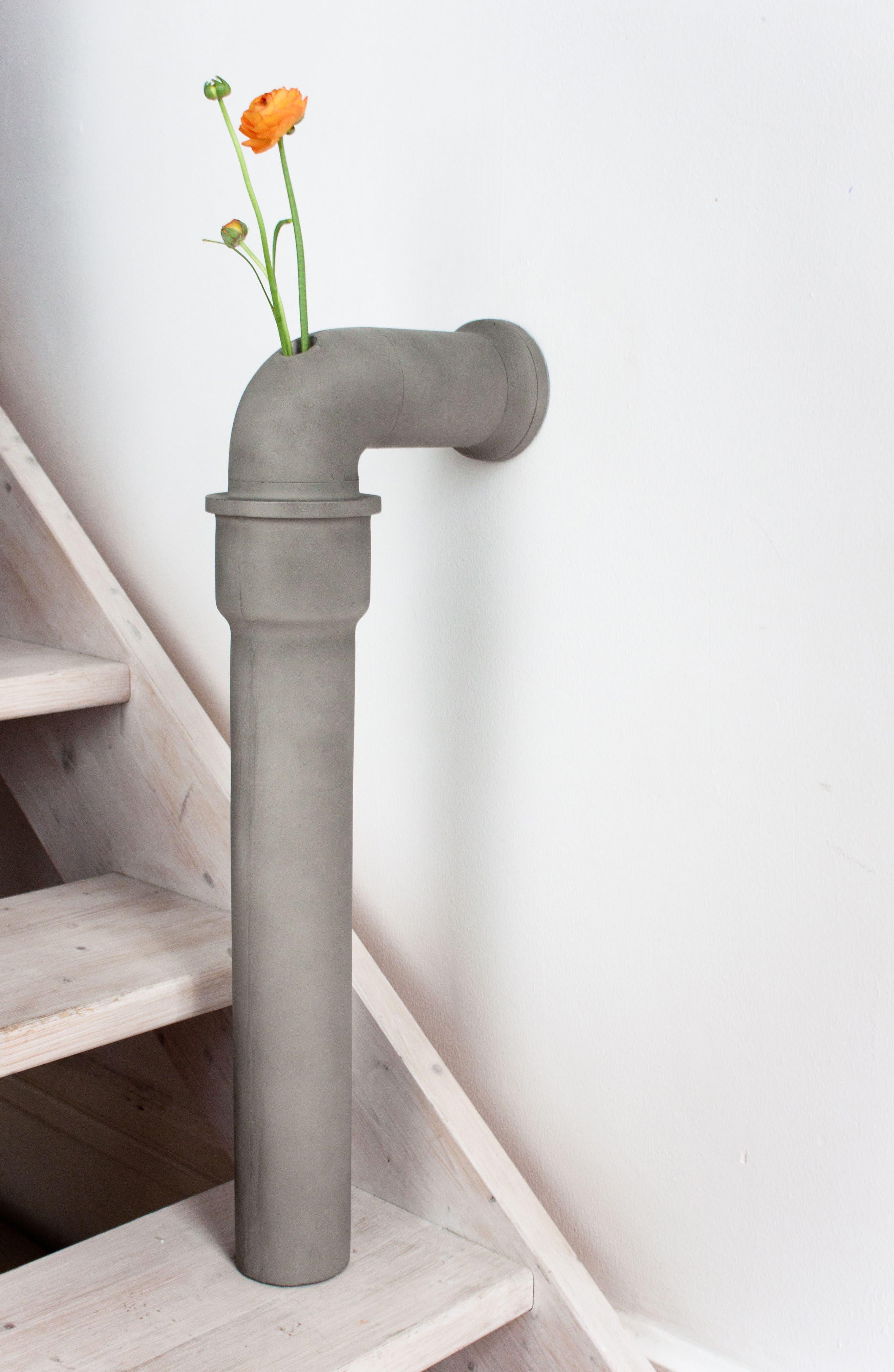 Lyon Béton Pipeline Stem Vase,                             Alternate thumbnail 3, color,                             CEMENT