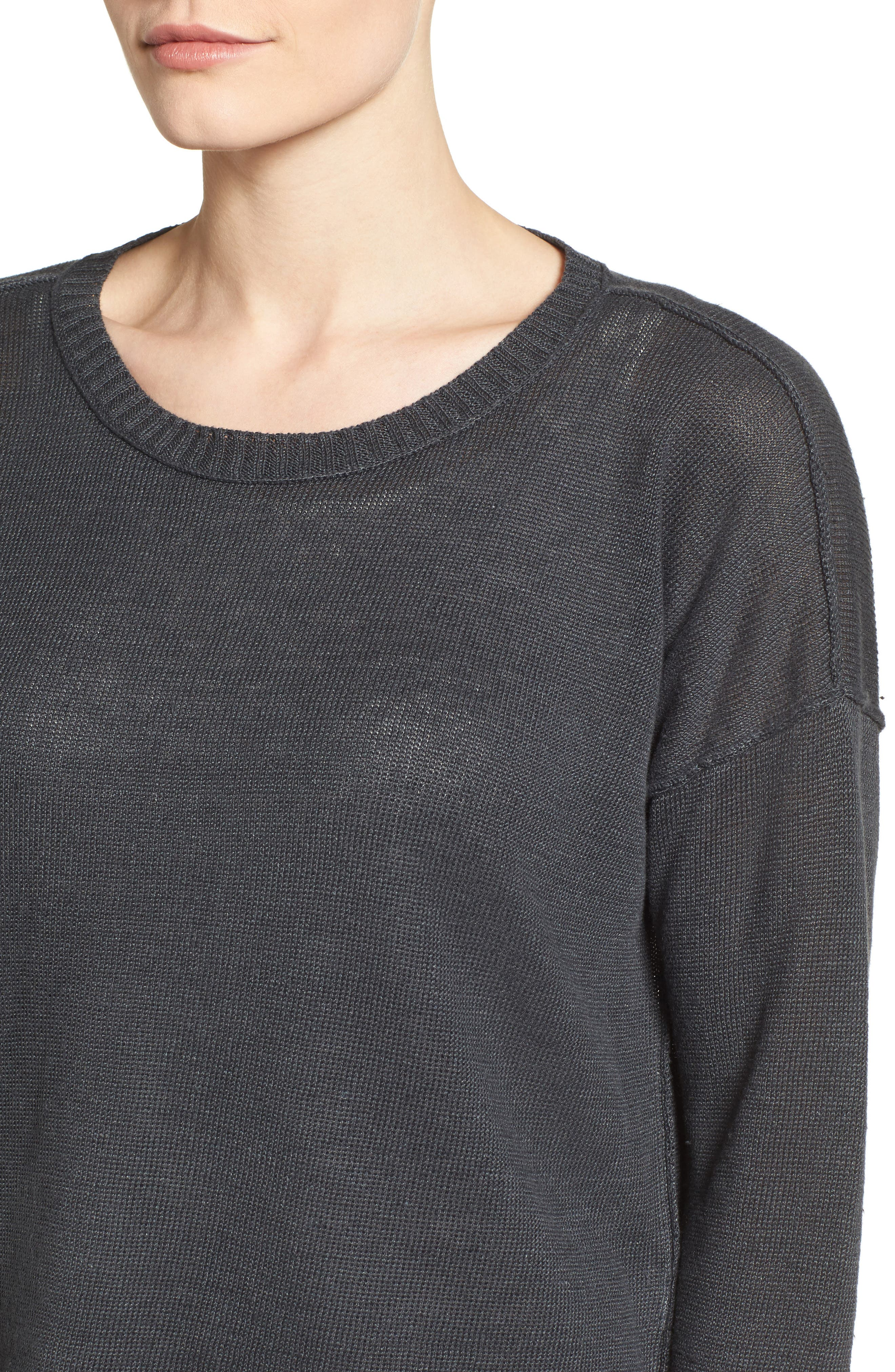 Organic Linen Sweater,                             Alternate thumbnail 4, color,                             025