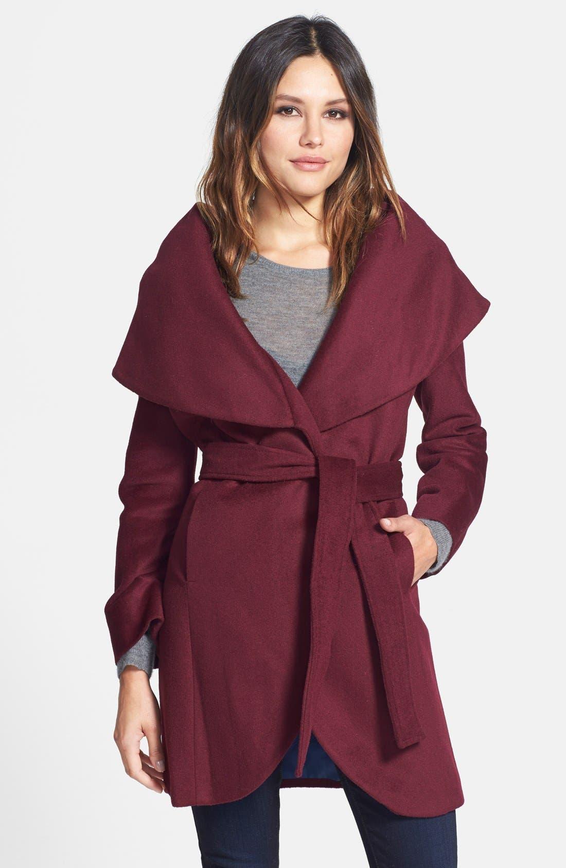 T Tahari Wool Blend Belted Wrap Coat,                             Main thumbnail 10, color,