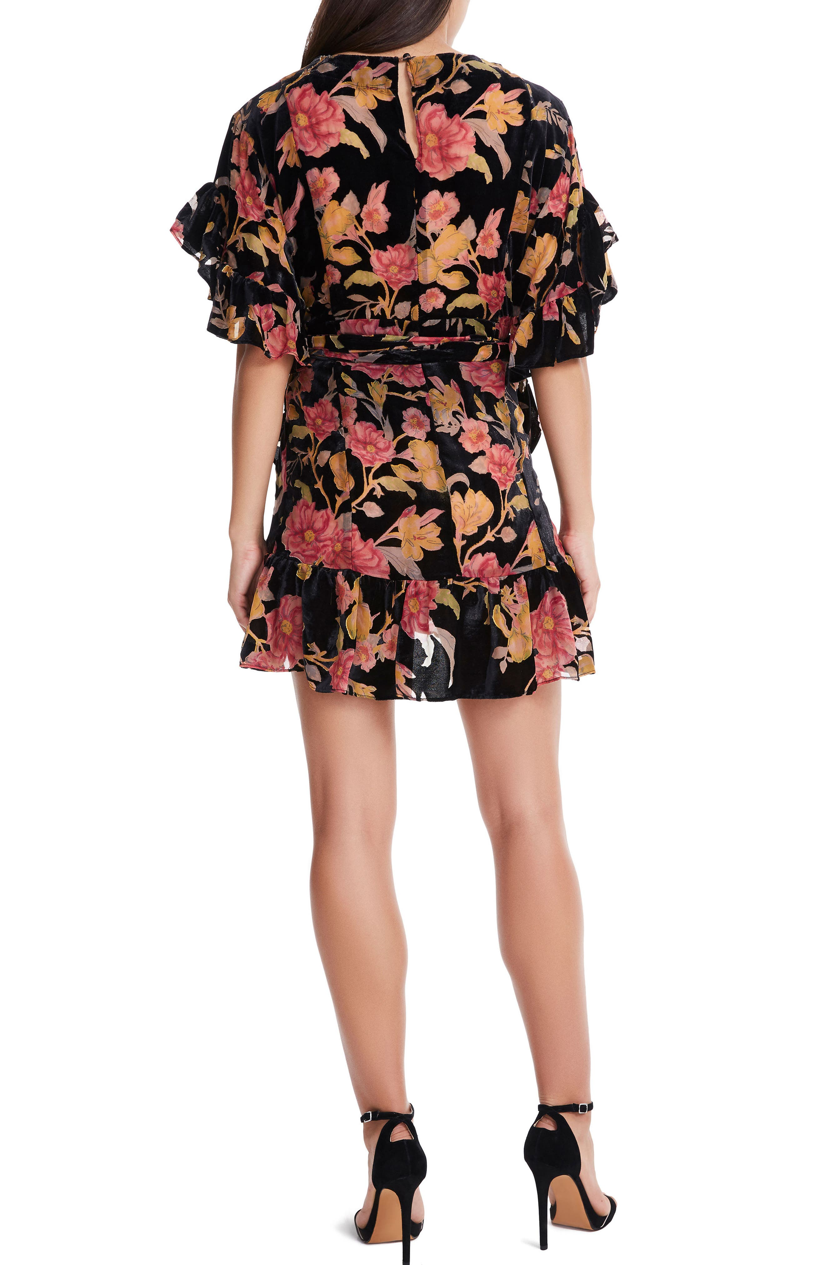 Tokyo Ruffle Wrap Dress,                             Alternate thumbnail 2, color,                             001