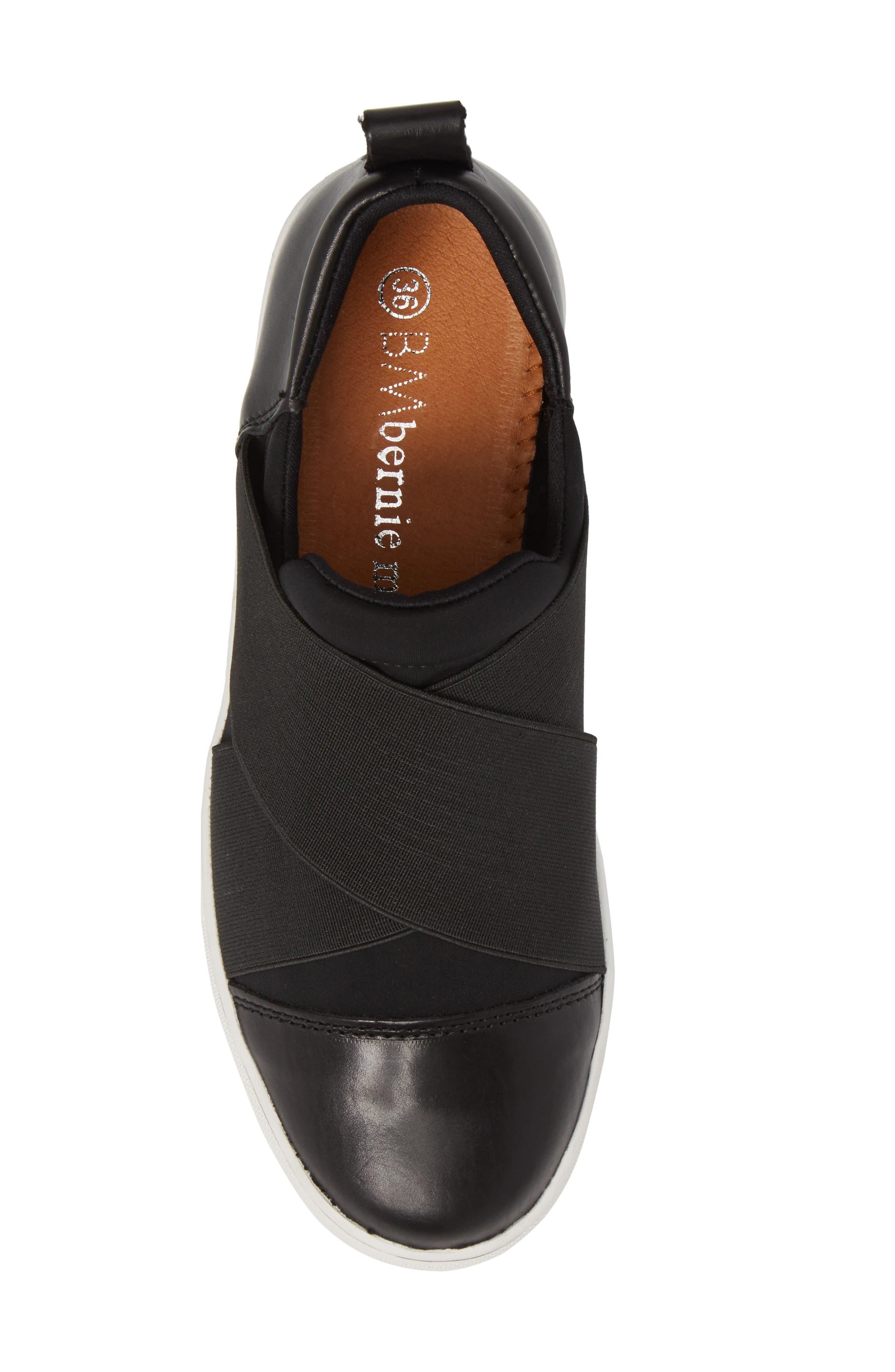 Elmwood Slip-On Sneaker,                             Alternate thumbnail 5, color,                             BLACK LEATHER