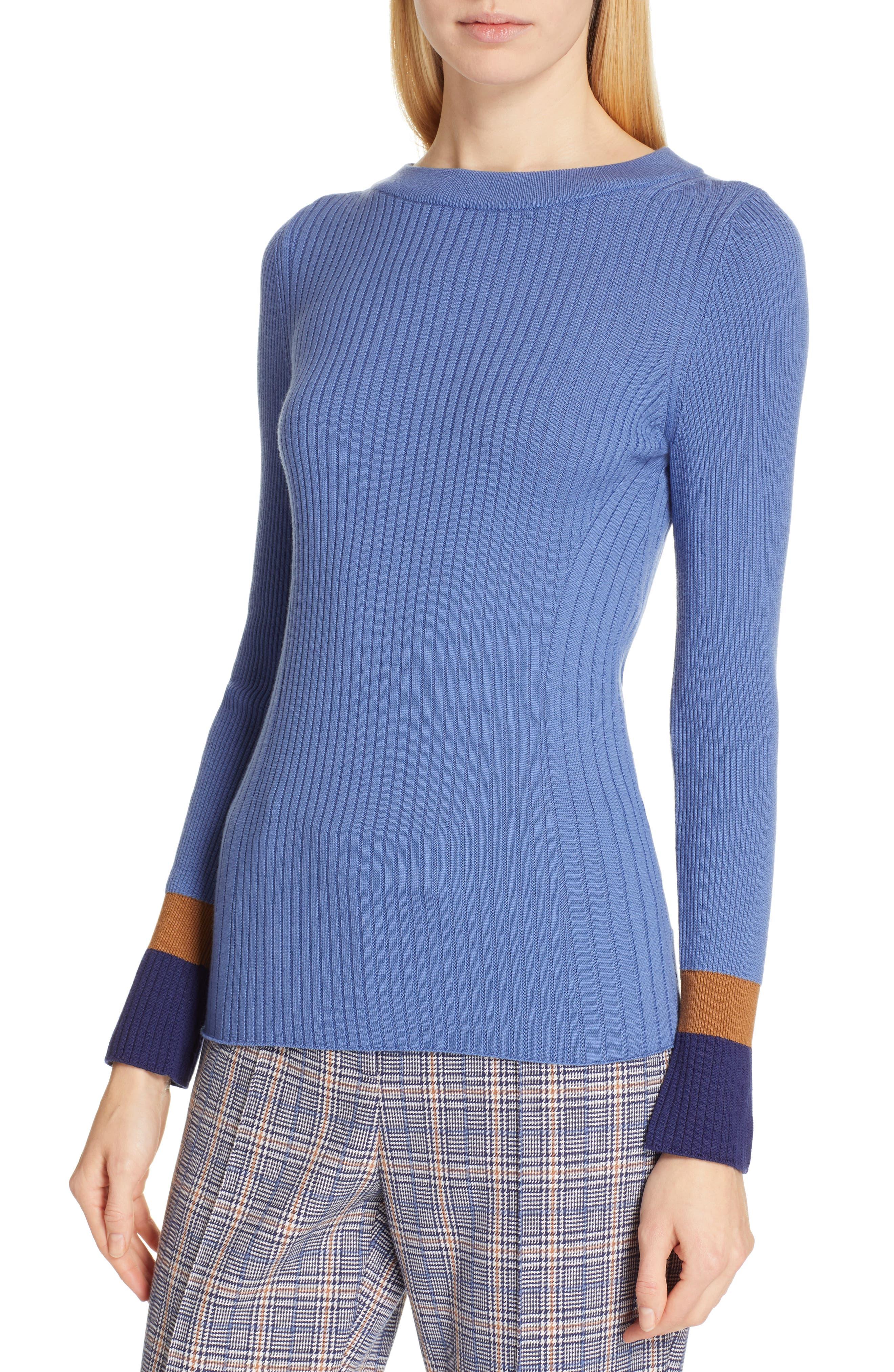 Fadeline Blue Fantasy Ribbed Wool Sweater,                             Alternate thumbnail 4, color,                             SOFT BLUE FANTASY