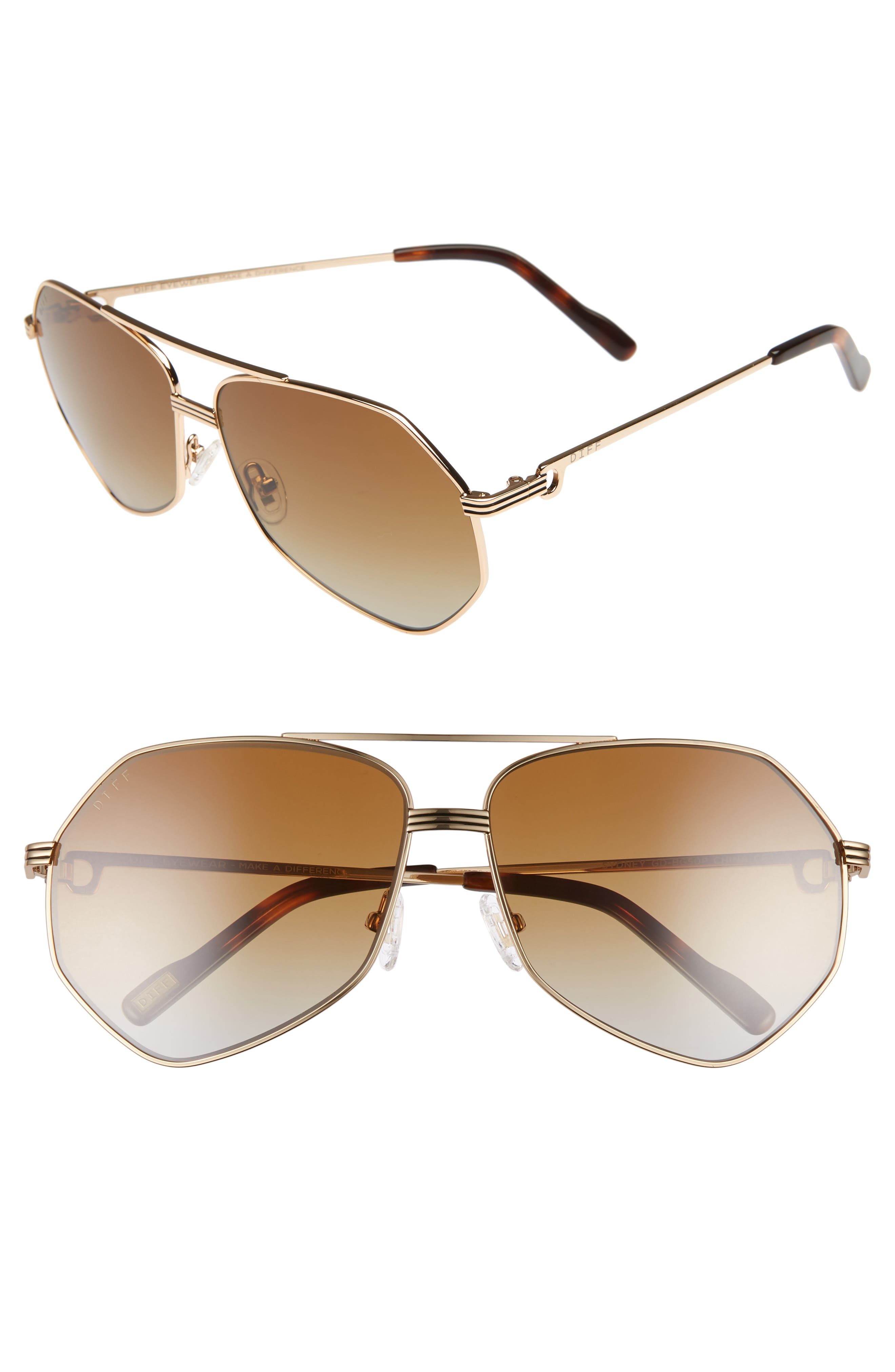 Sydney Sunglasses,                         Main,                         color, GOLD/ BROWN