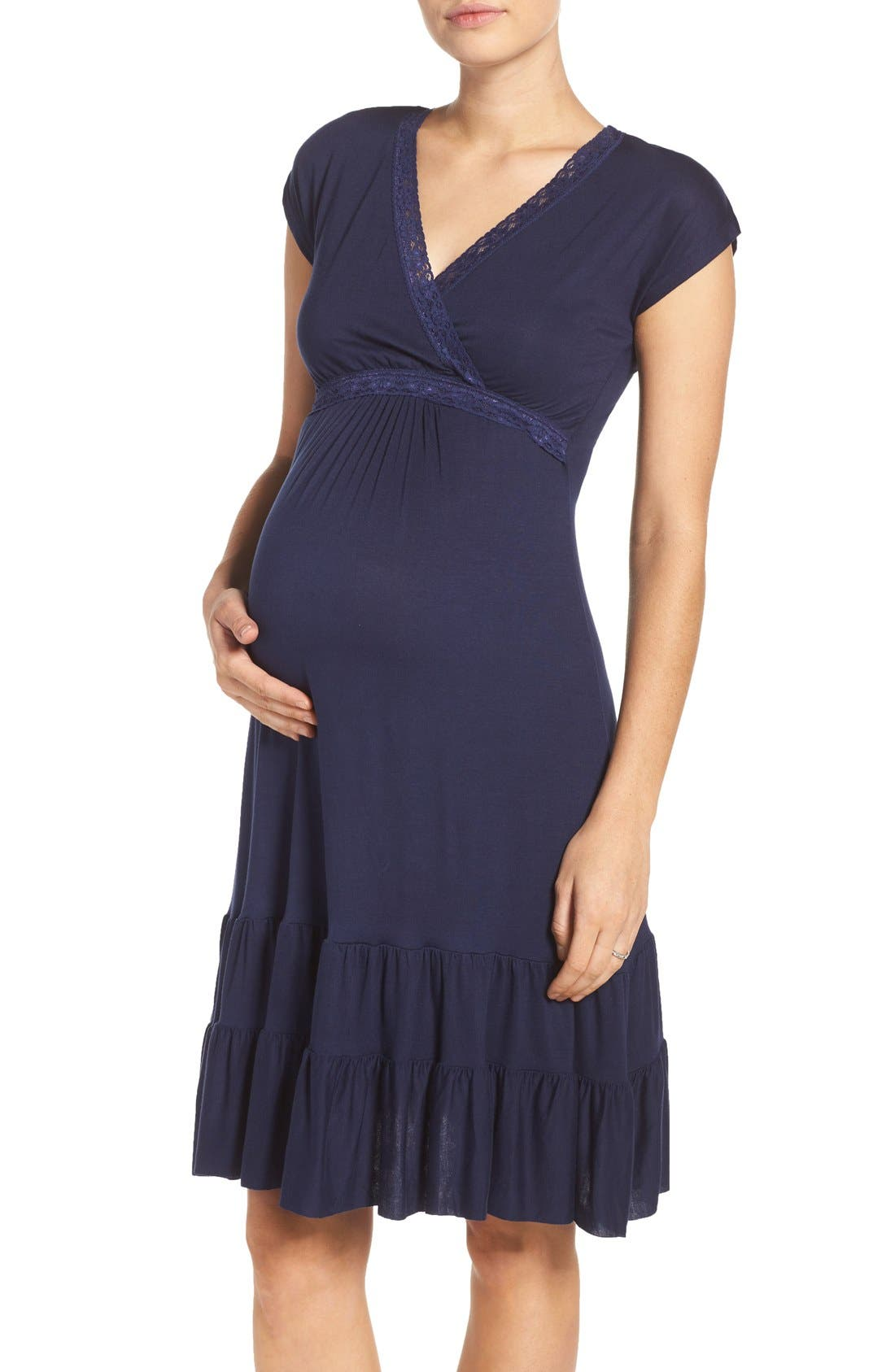 Ruffle Nursing Dress,                             Main thumbnail 3, color,