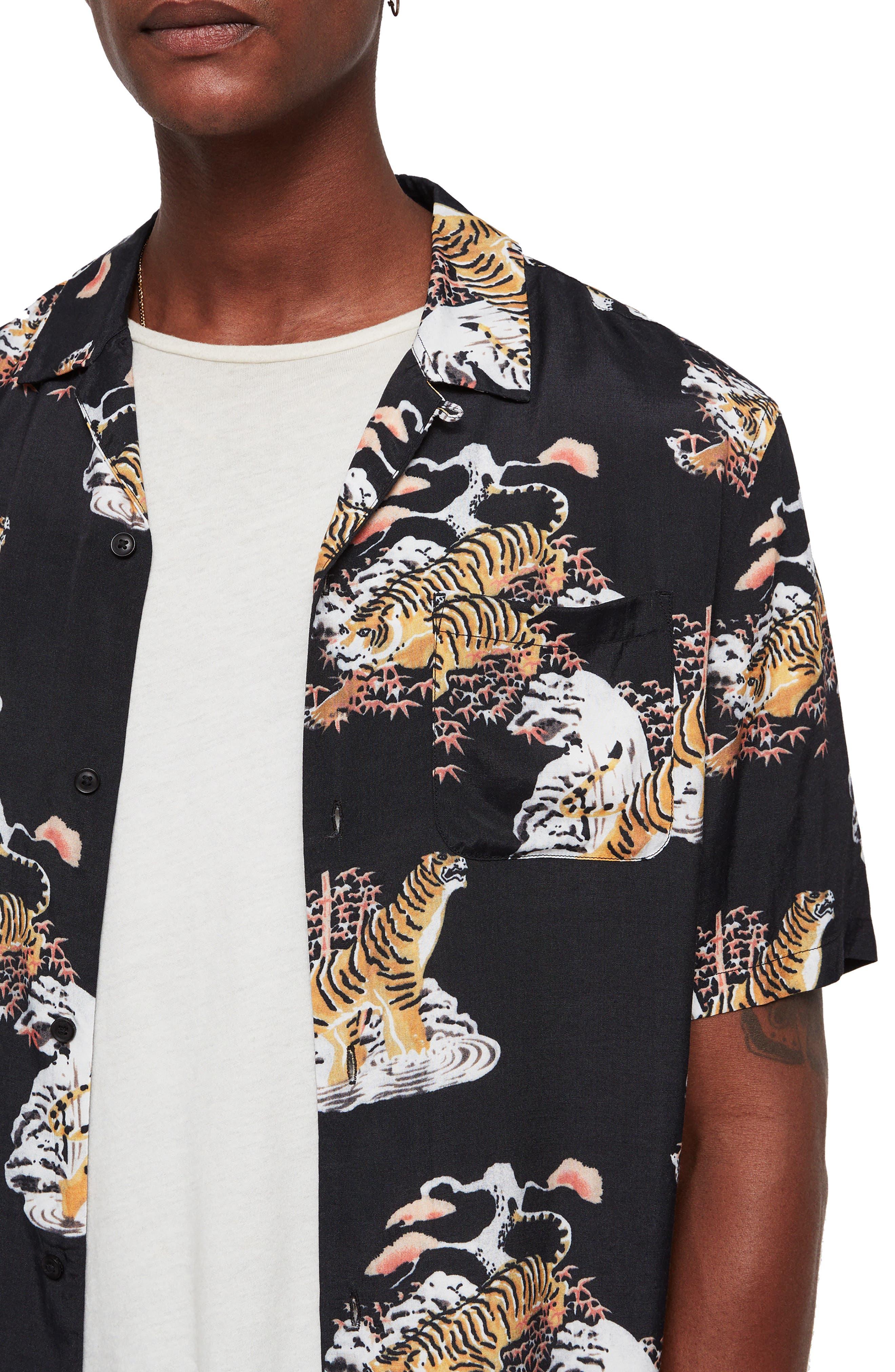 Kirshma Slim Fit Print Shirt,                             Alternate thumbnail 2, color,                             BLACK