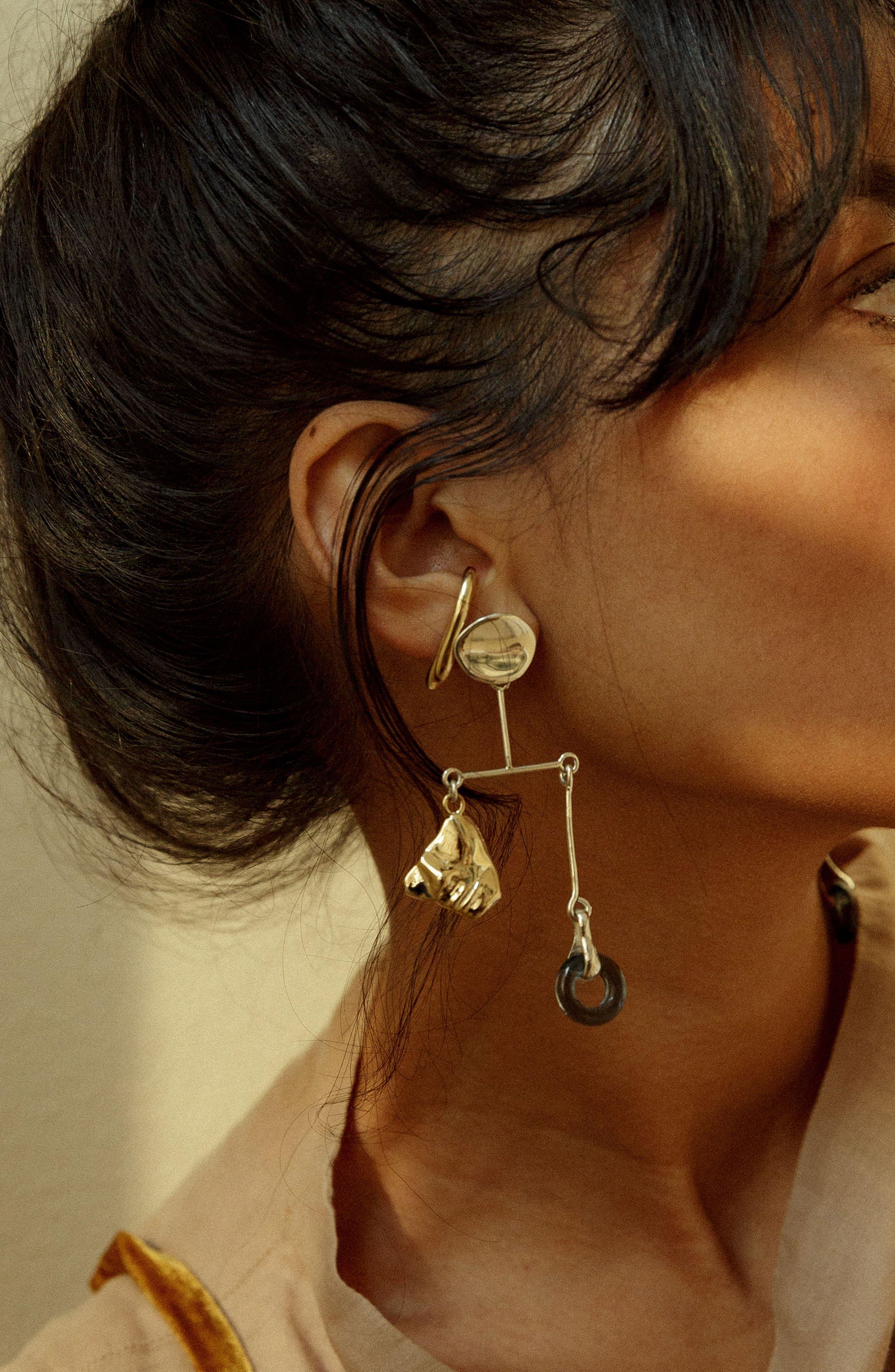 Portra Mobile Earrings,                             Alternate thumbnail 3, color,                             STERLING SILVER/ BRONZE/ GLASS