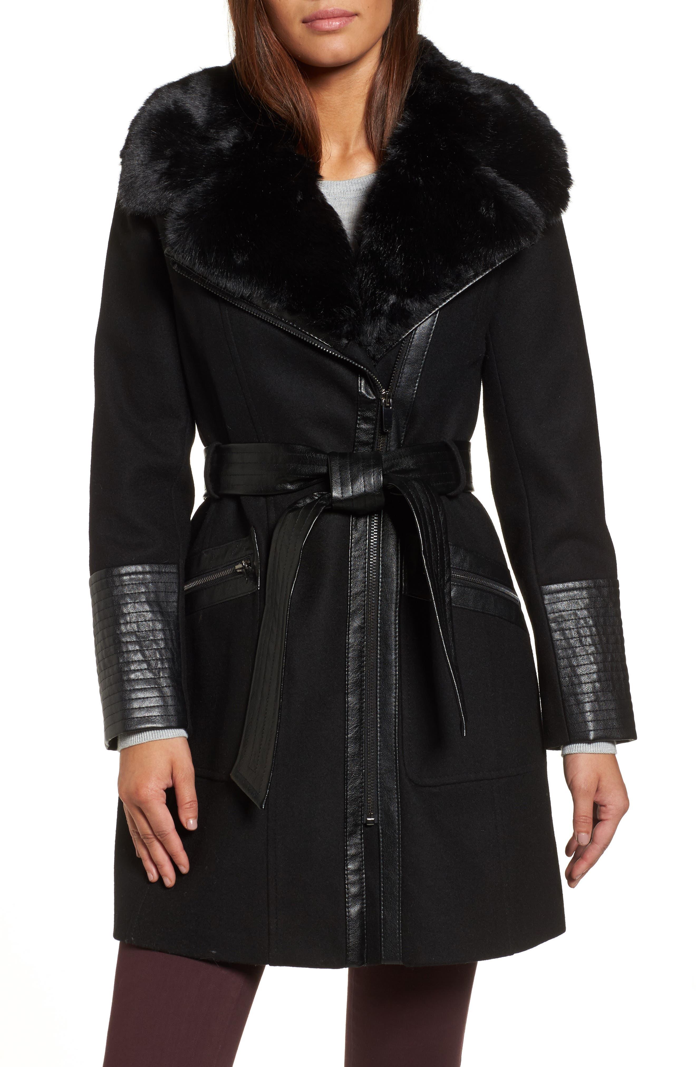 Faux Leather & Faux Fur Trim Belted Wool Blend Coat,                         Main,                         color, 001