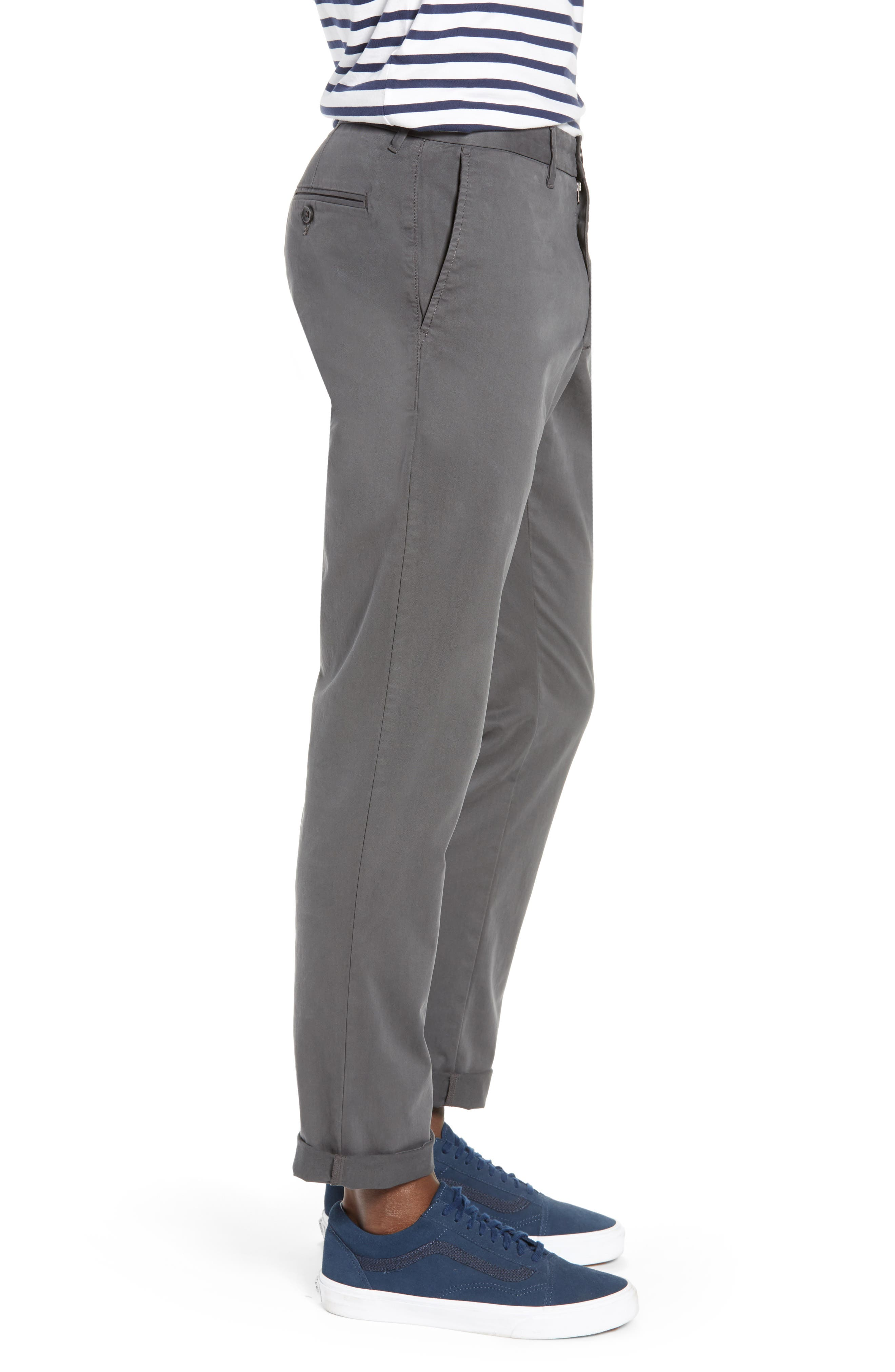 Fremont Flat Front Slim Fit Stretch Chino Pants,                             Alternate thumbnail 3, color,                             GREY ONYX