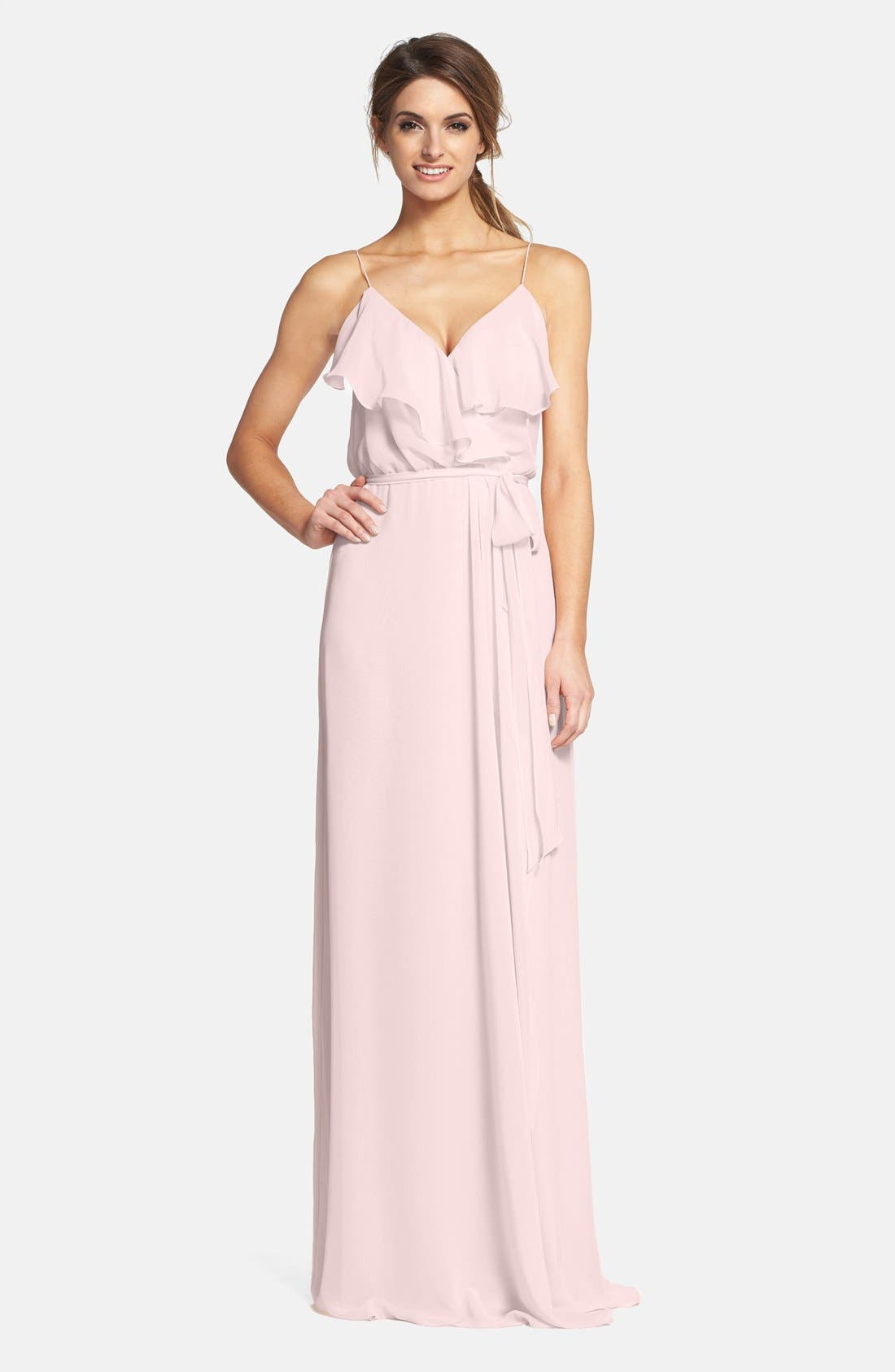 'Drew' Ruffle Front Chiffon Gown,                             Main thumbnail 14, color,