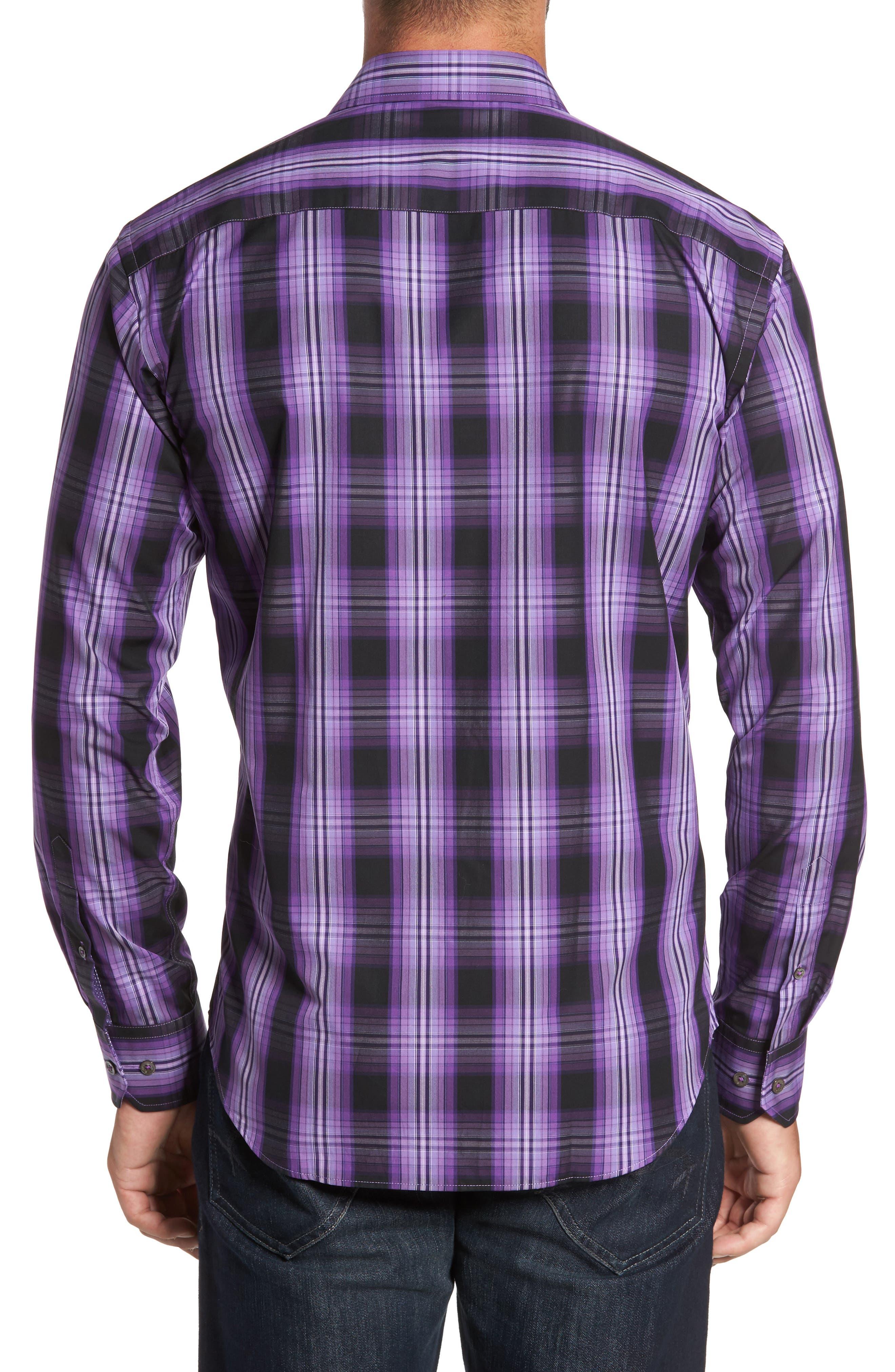 Slim Fit Gradient Plaid Sport Shirt,                             Alternate thumbnail 2, color,                             513