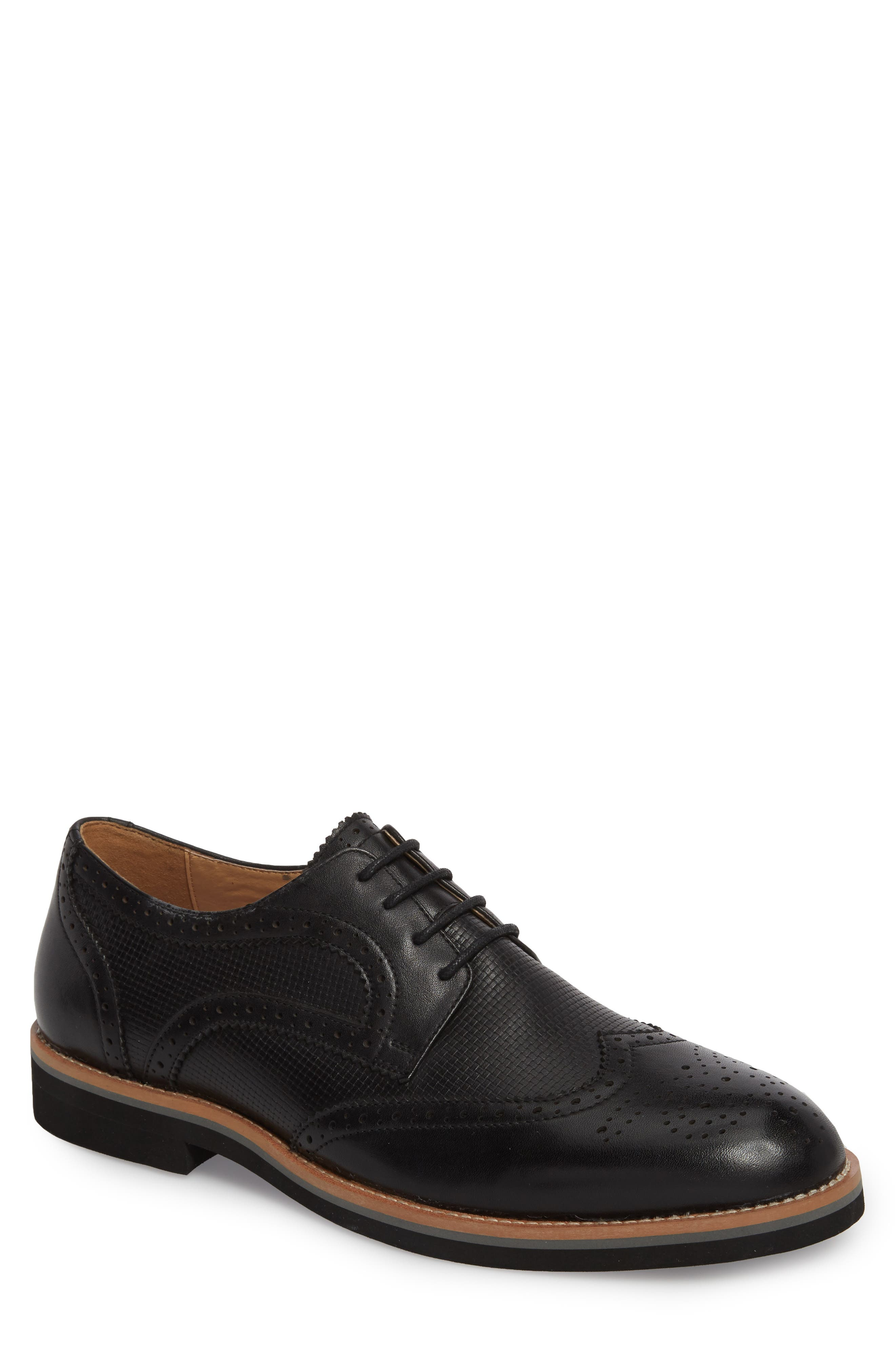 Cleave Embossed Wingtip,                             Main thumbnail 1, color,                             BLACK LEATHER