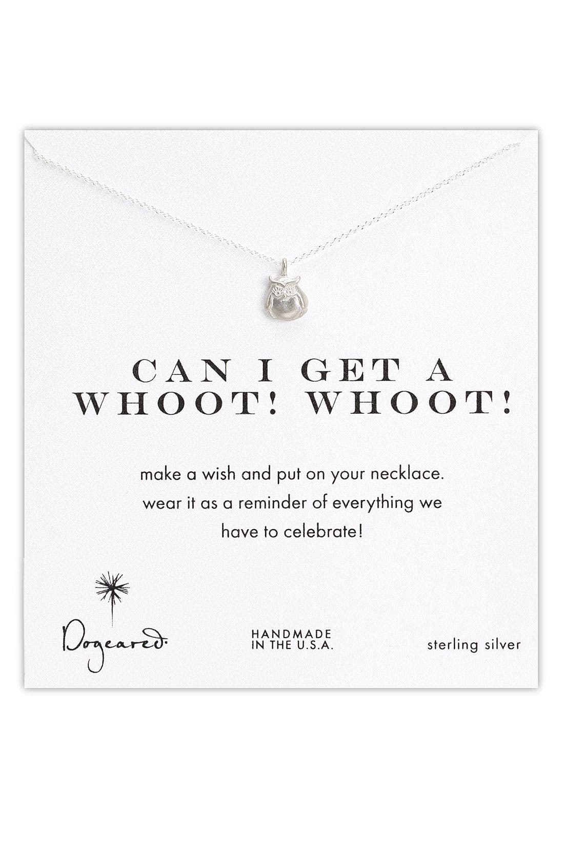 DOGEARED,                             'Whoot Whoot' Owl Pendant Necklace,                             Main thumbnail 1, color,                             040