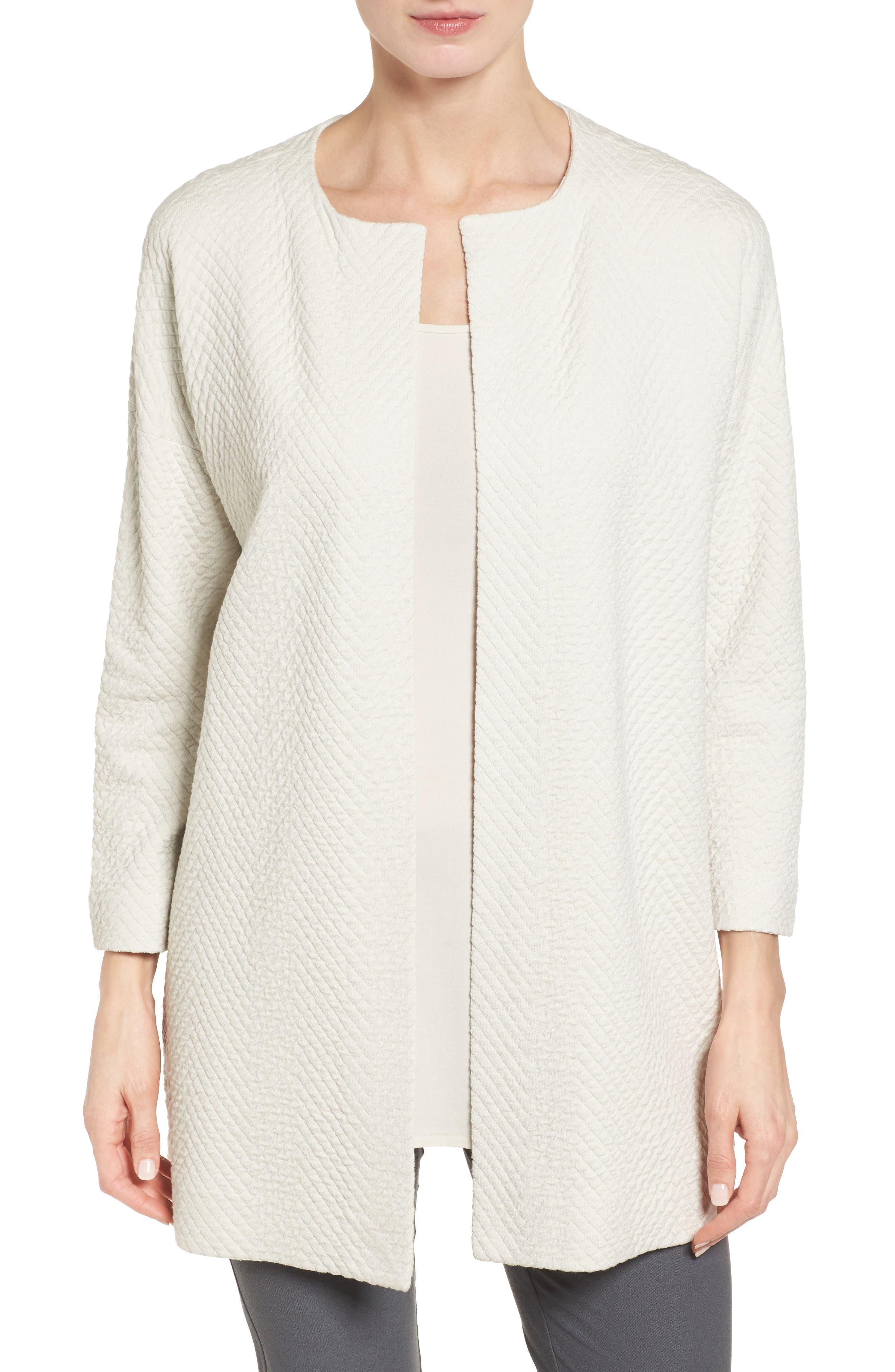 Silk Blend Jacquard Jacket, Main, color, 100