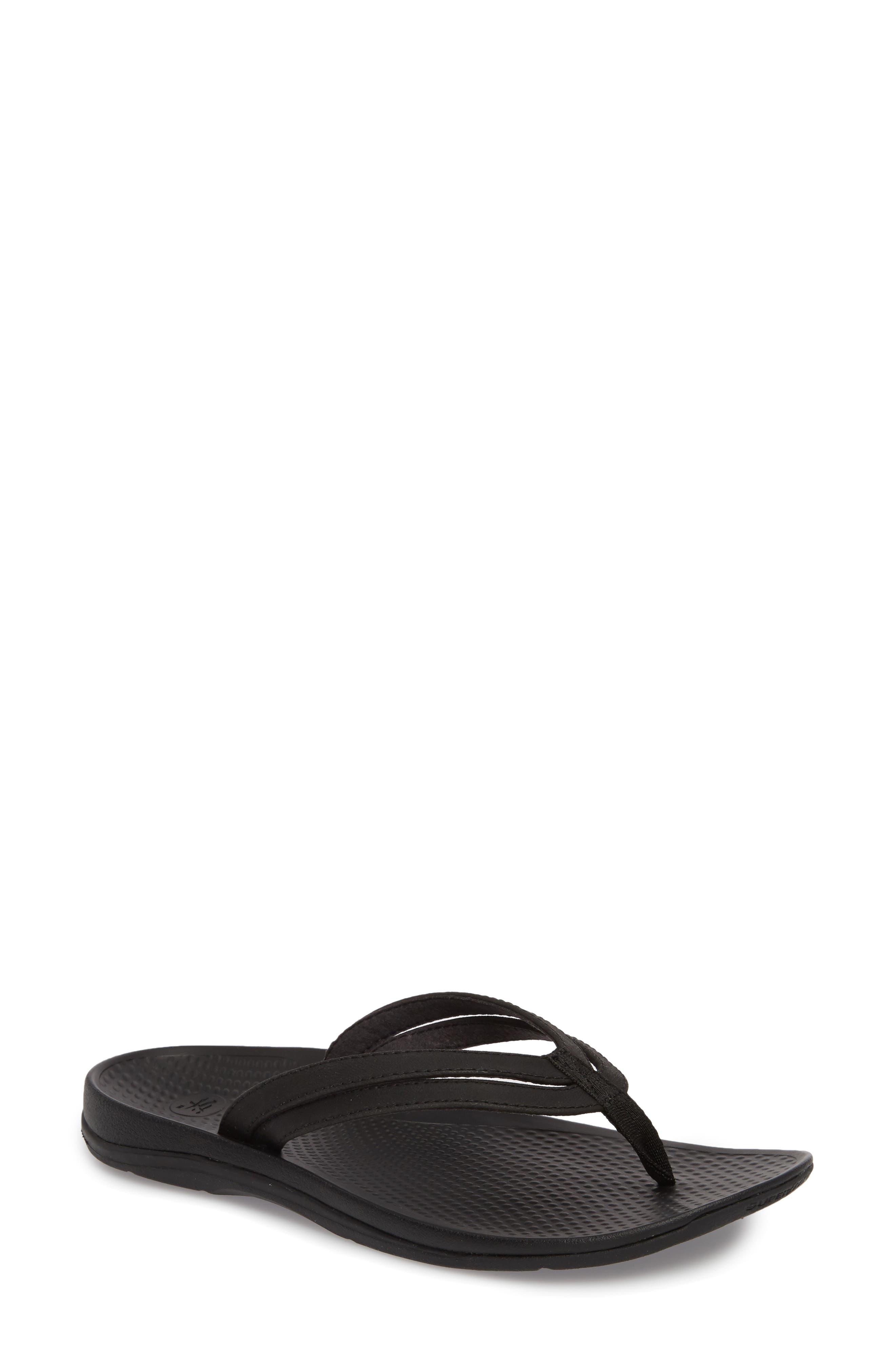 Rose Flip Flop,                         Main,                         color, BLACK FAUX LEATHER