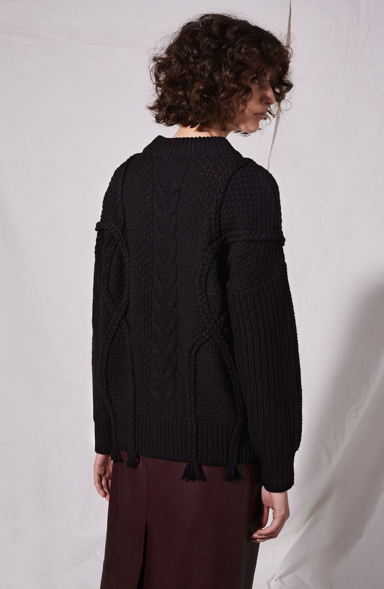 Plaited Cable Knit Sweater,                             Alternate thumbnail 7, color,                             001