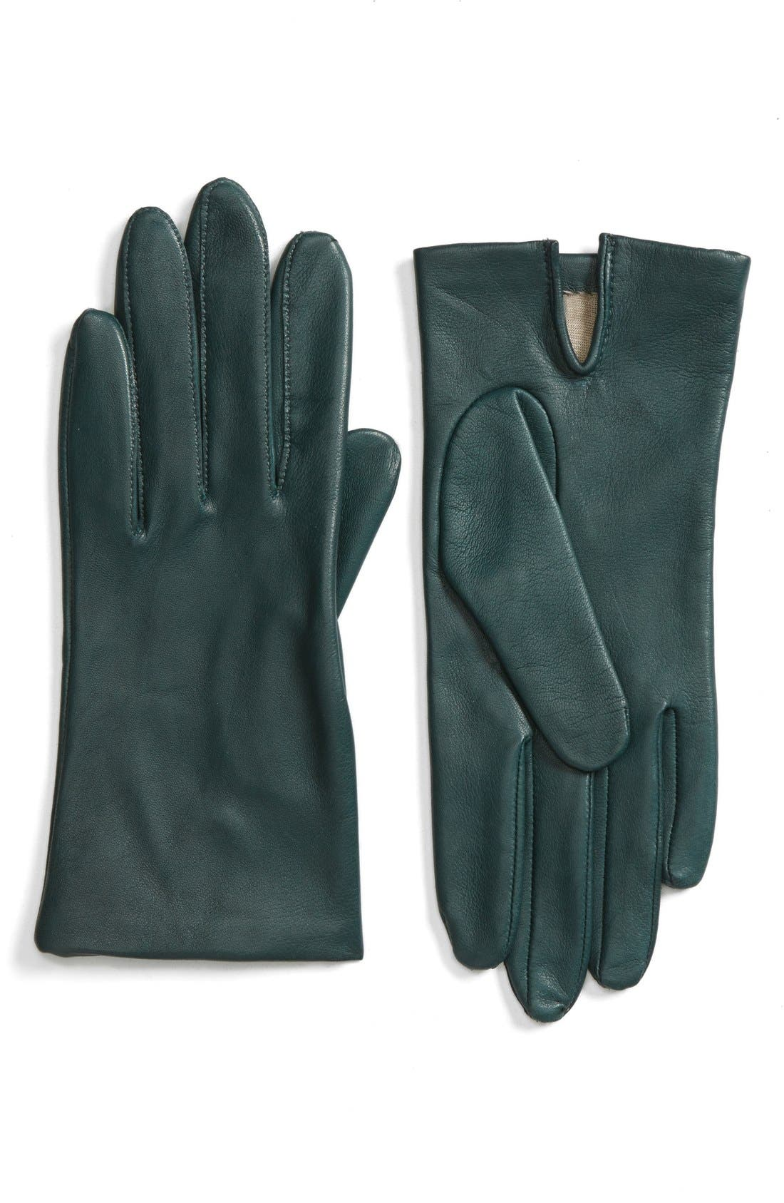 Short Leather Gloves,                             Main thumbnail 3, color,