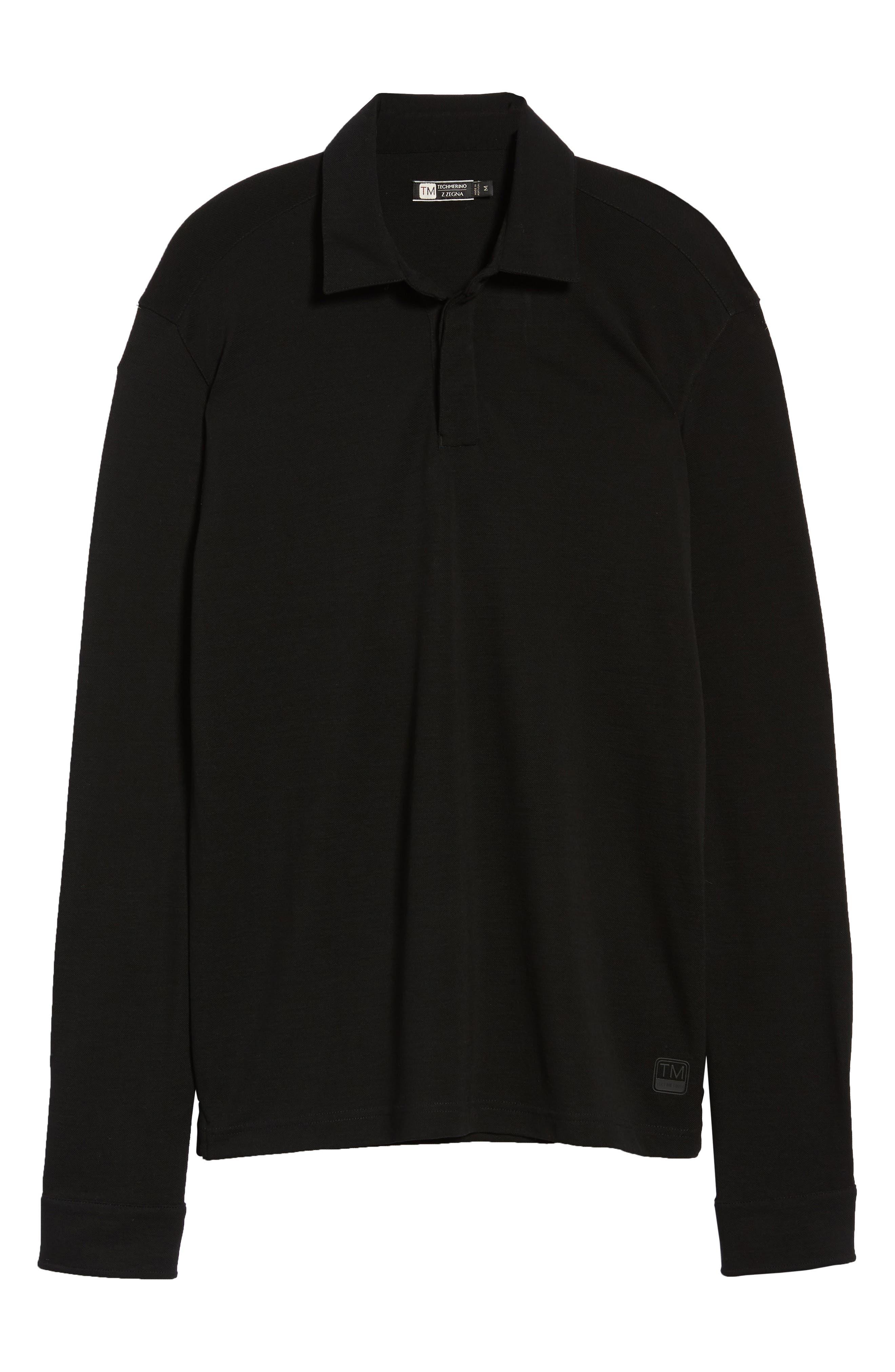 Trim Fit Wool Long Sleeve Polo Shirt,                             Alternate thumbnail 6, color,                             BLACK