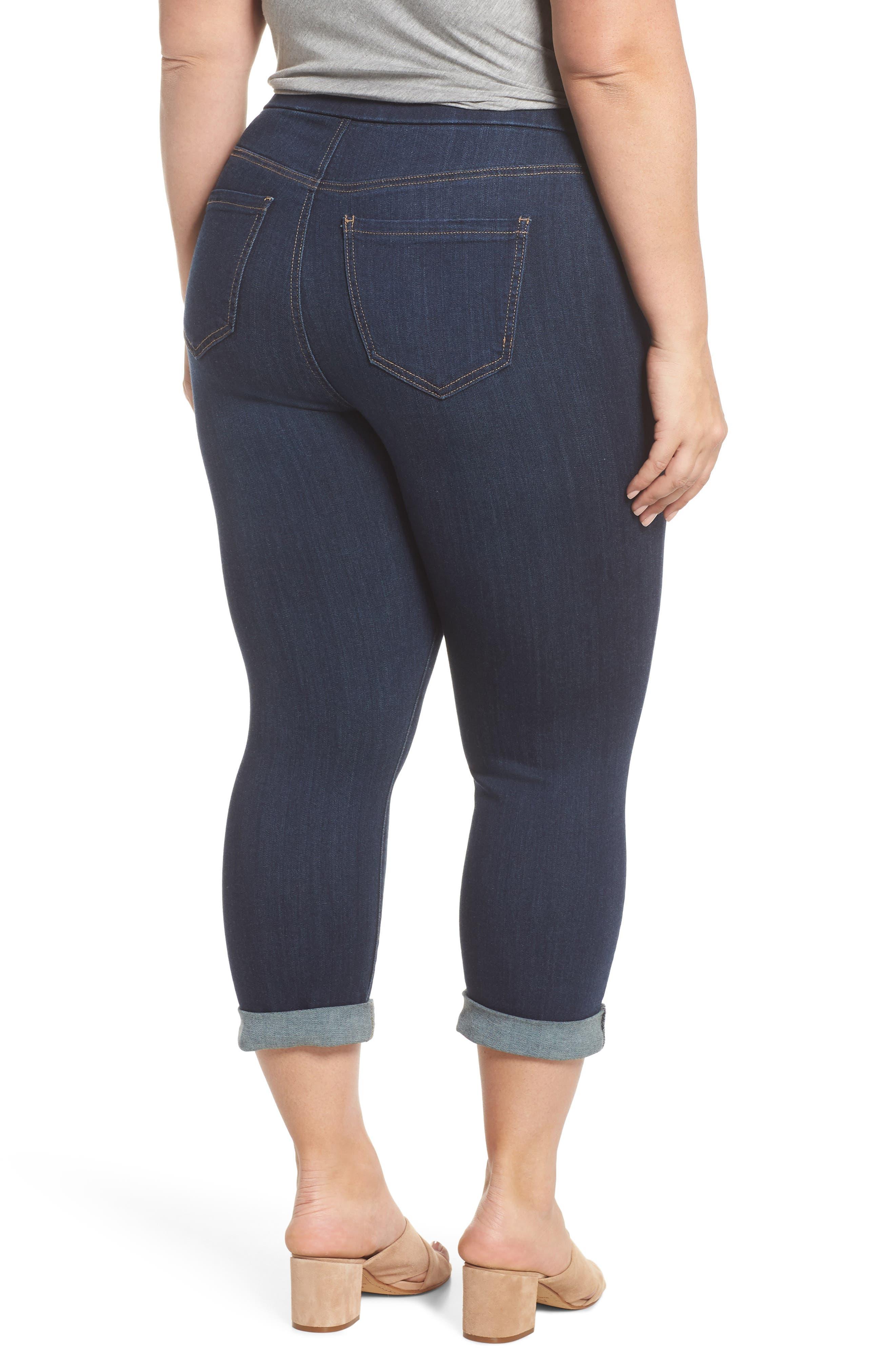 Sienna Pull-On Denim Capri Pants,                             Alternate thumbnail 2, color,                             GRIFFITH SUPER DARK