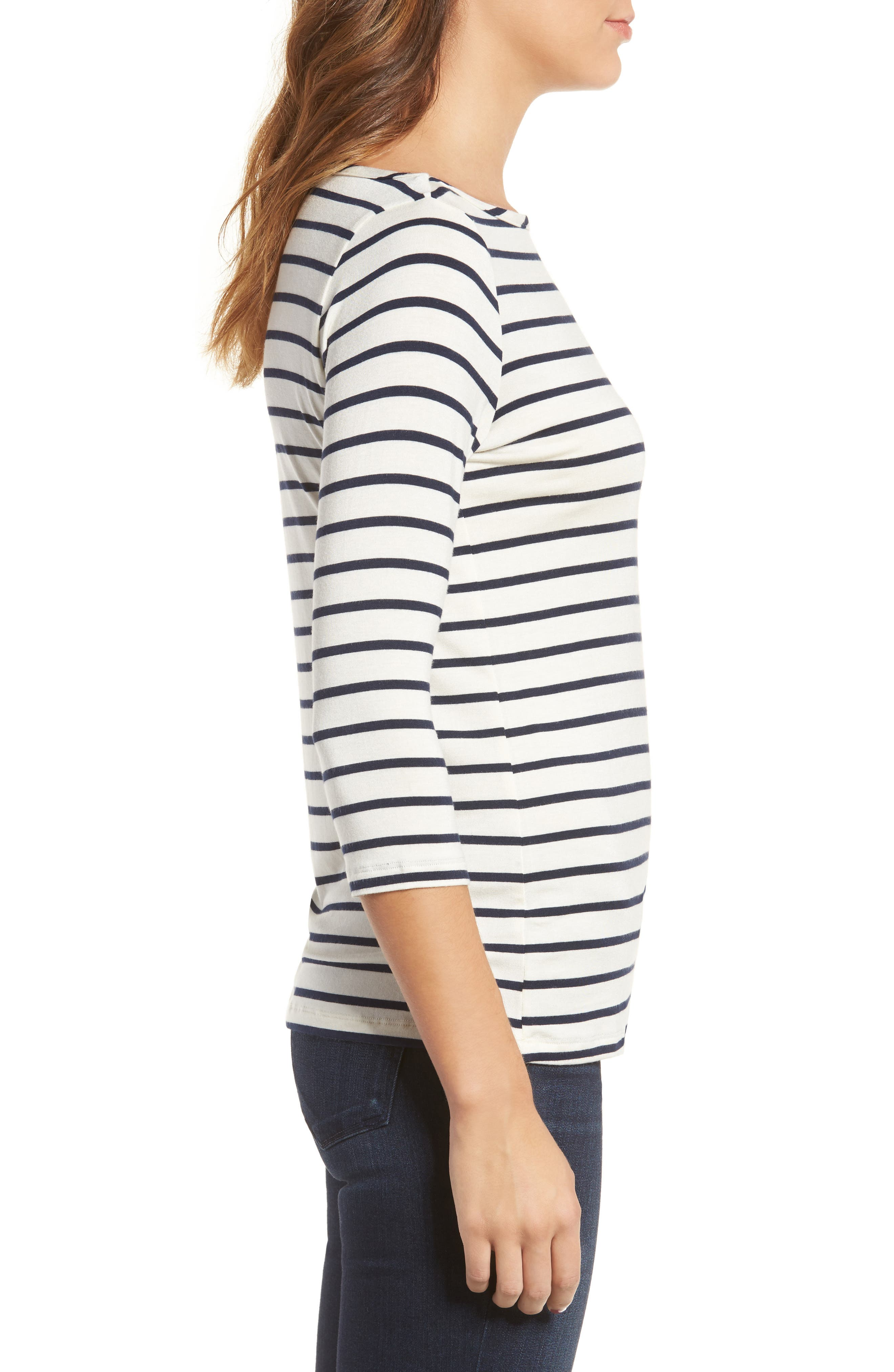 Francoise Stretch Jersey Top,                             Alternate thumbnail 3, color,                             MARINE STRIPE